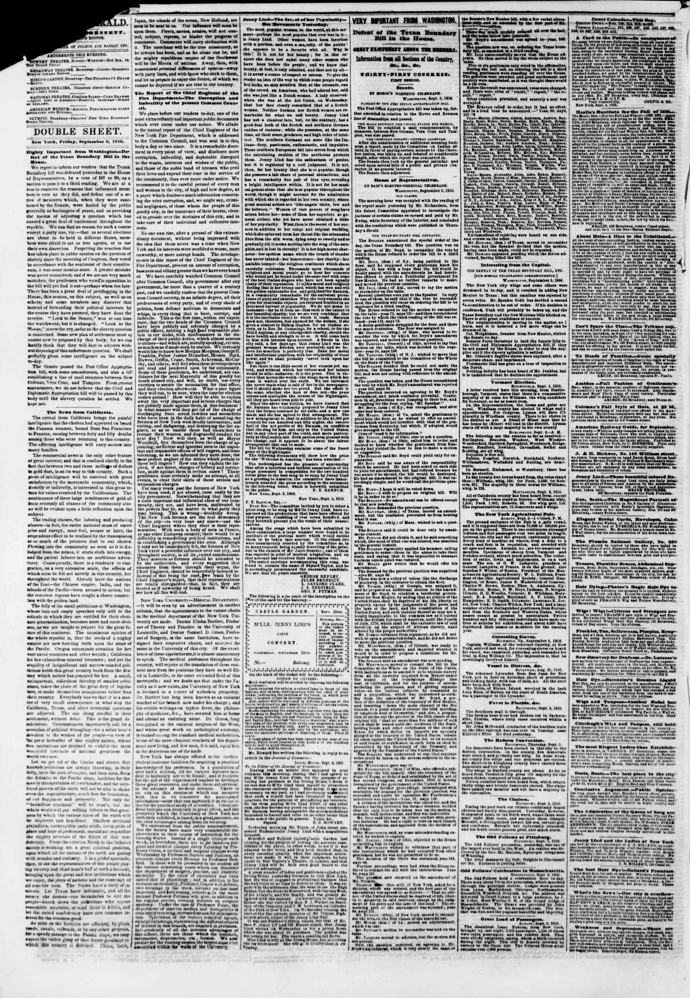 Newspaper of The New York Herald dated September 6, 1850 Page 4
