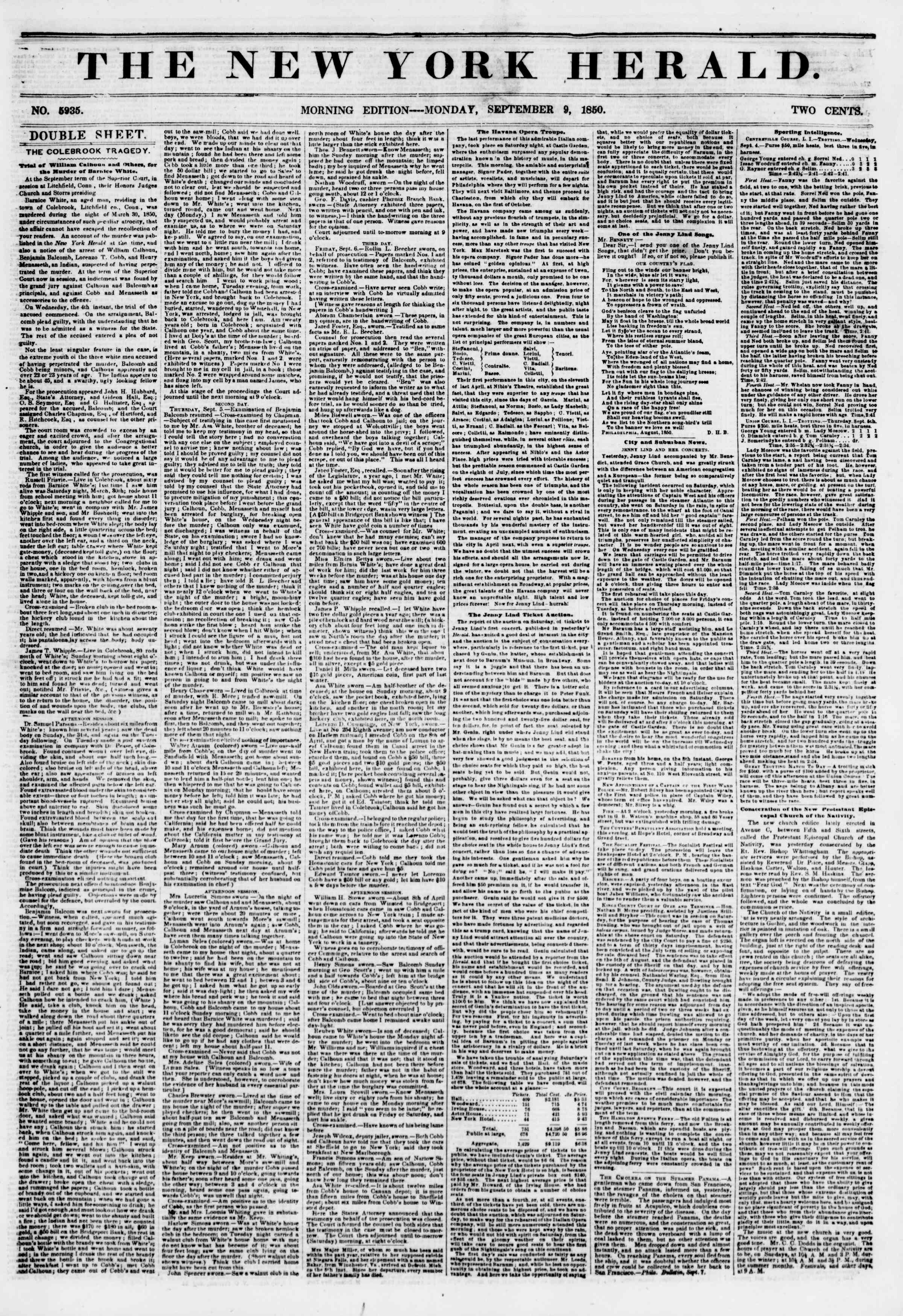 Newspaper of The New York Herald dated September 9, 1850 Page 1