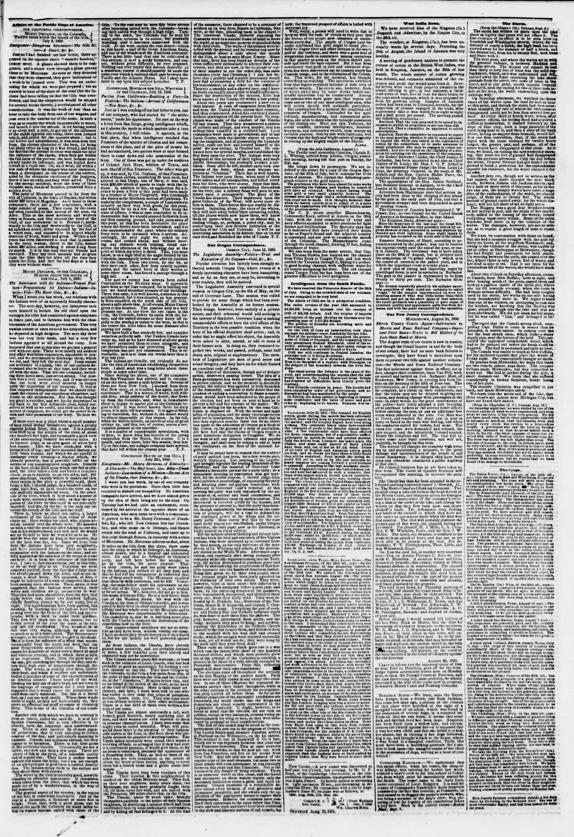 Newspaper of The New York Herald dated September 9, 1850 Page 3
