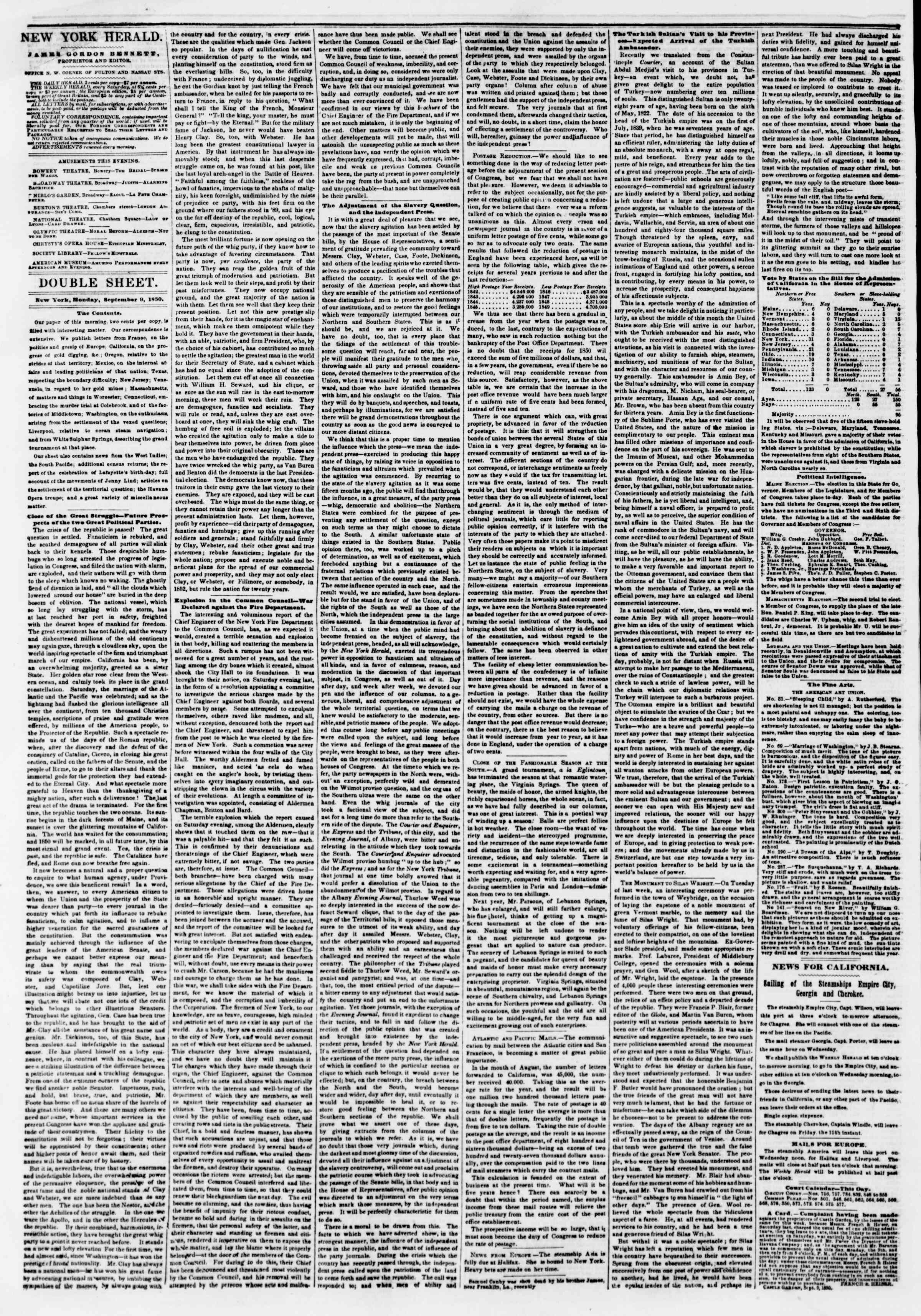 Newspaper of The New York Herald dated September 9, 1850 Page 4