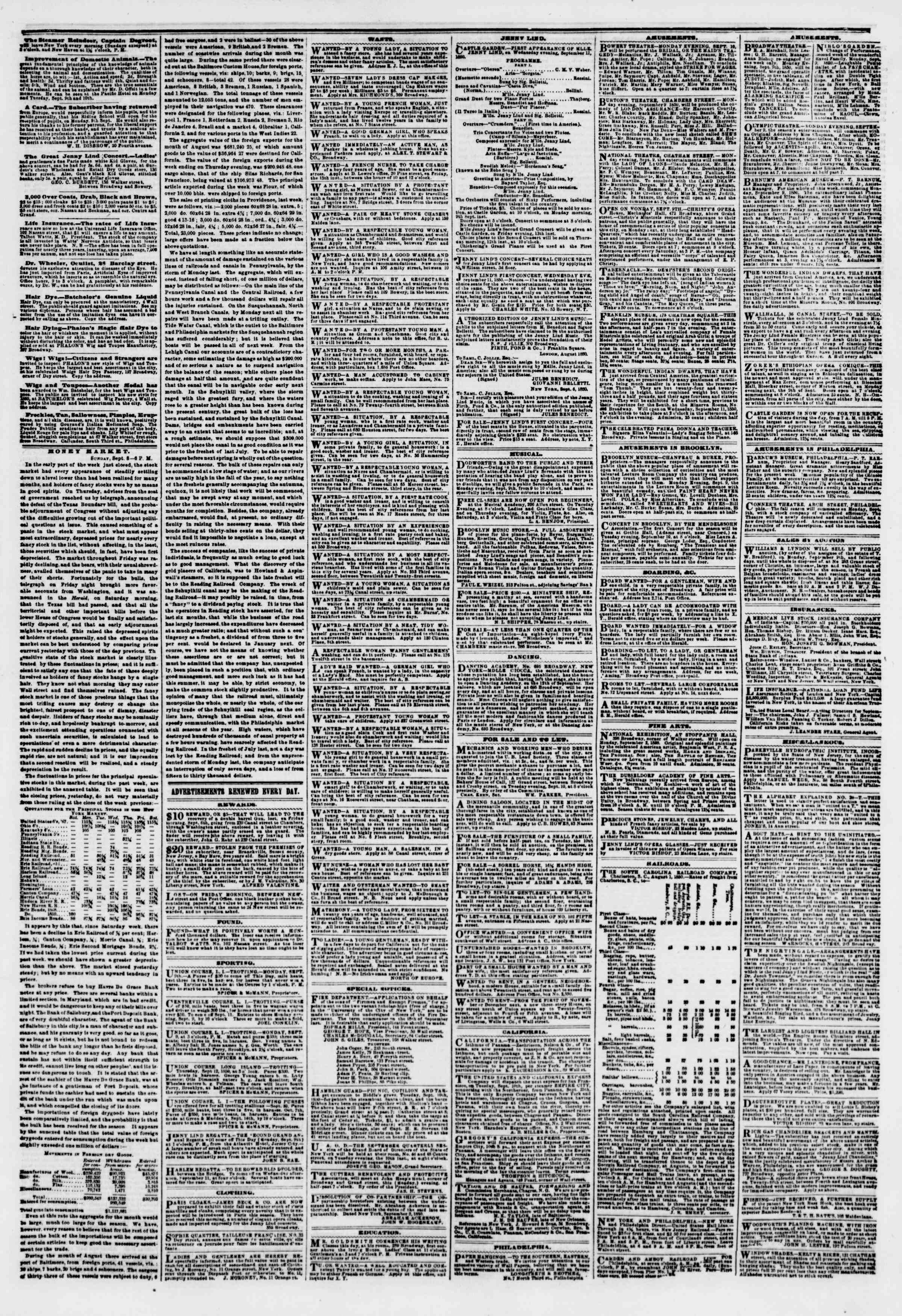 Newspaper of The New York Herald dated September 9, 1850 Page 5