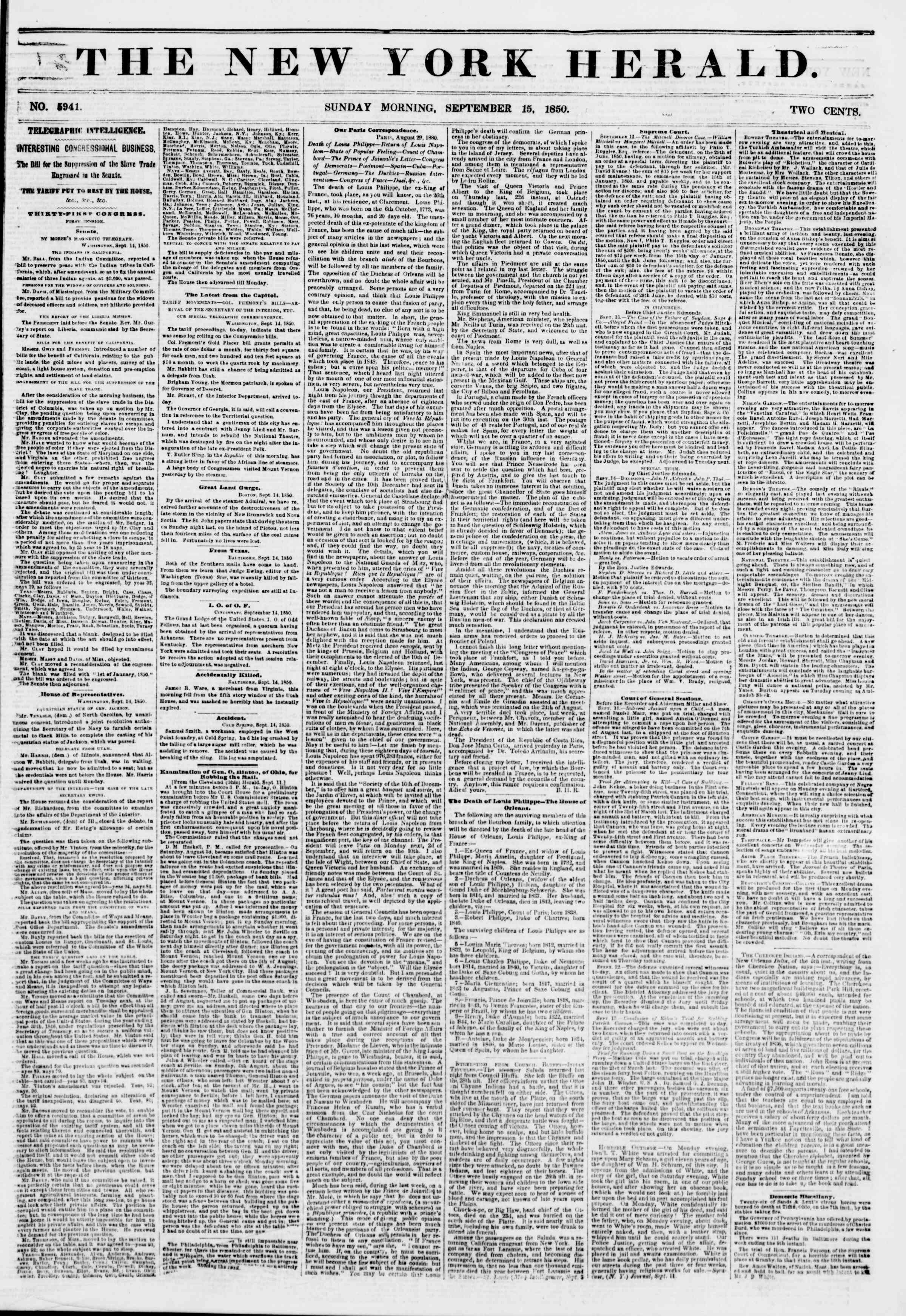 Newspaper of The New York Herald dated September 15, 1850 Page 1