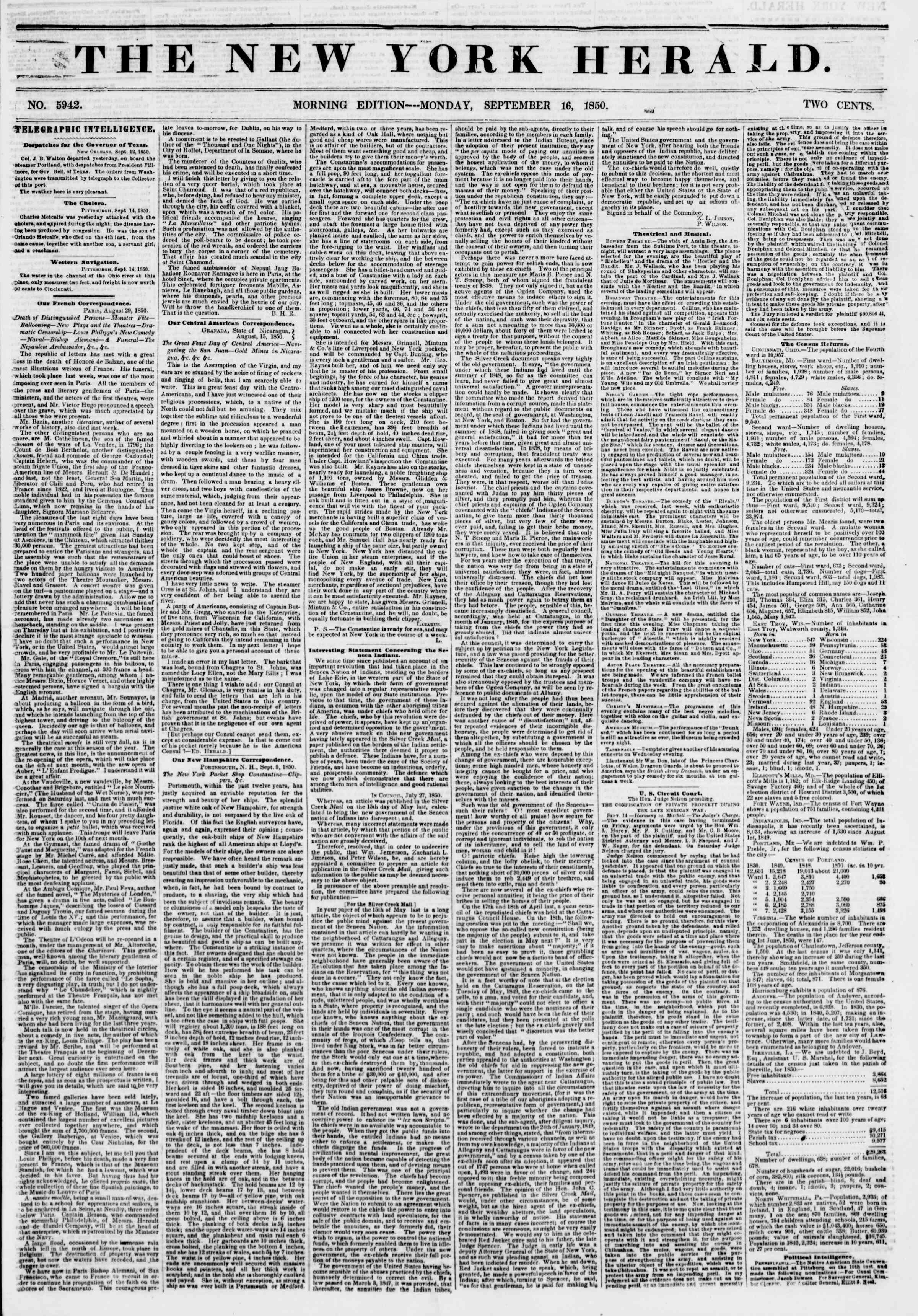 Newspaper of The New York Herald dated September 16, 1850 Page 1
