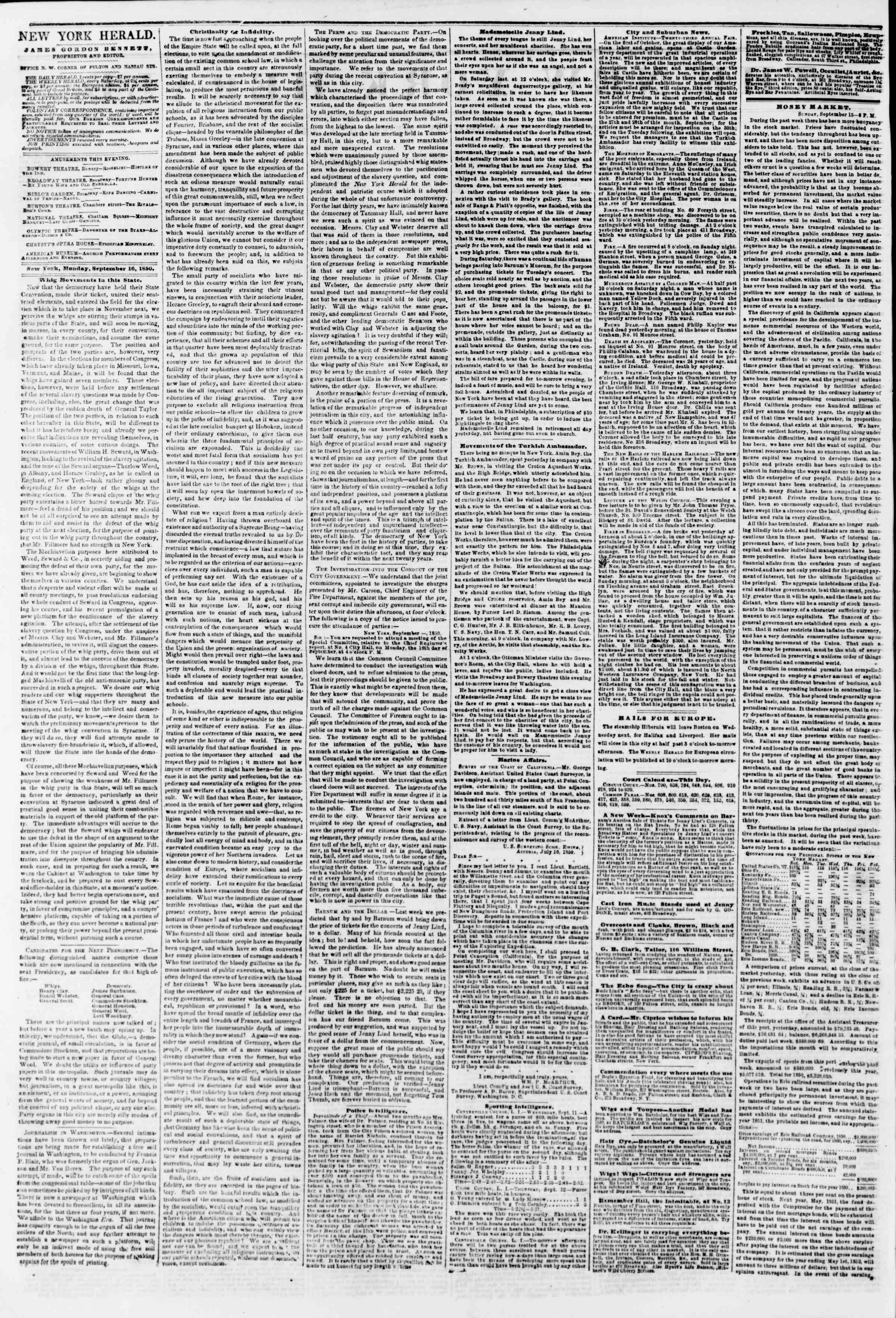 16 Eylül 1850 tarihli The New York Herald Gazetesi Sayfa 2