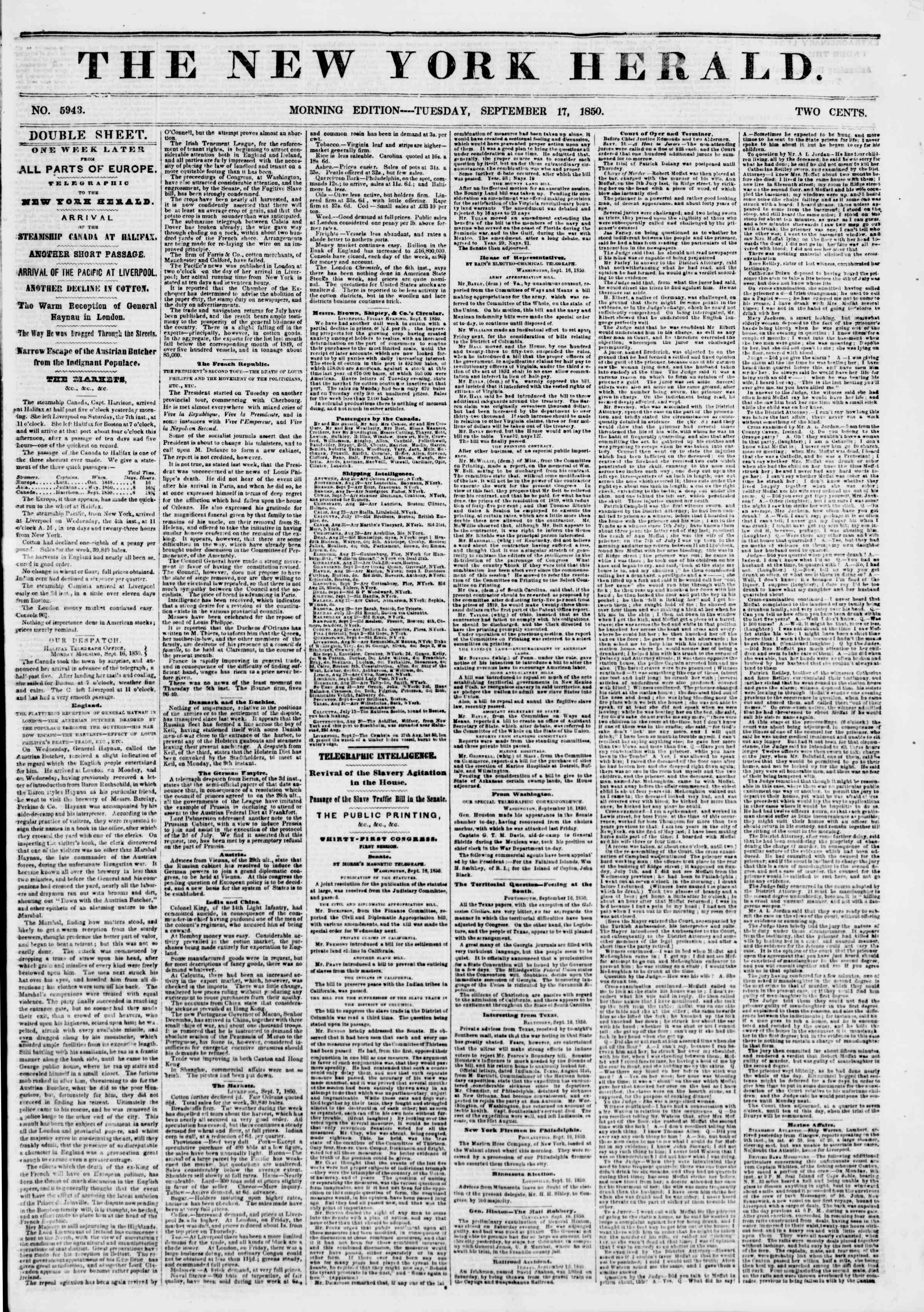 Newspaper of The New York Herald dated September 17, 1850 Page 1