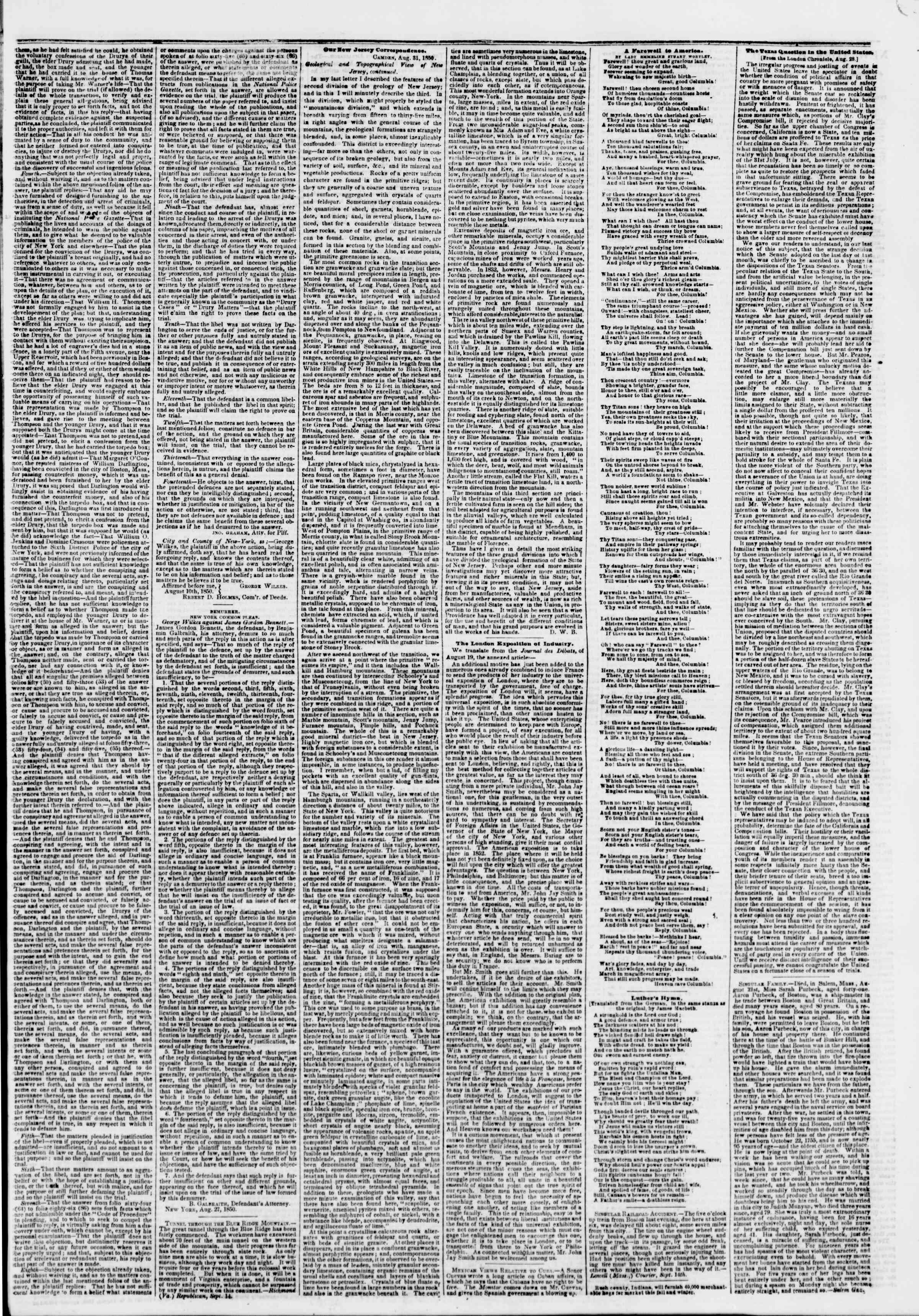 Newspaper of The New York Herald dated September 17, 1850 Page 3