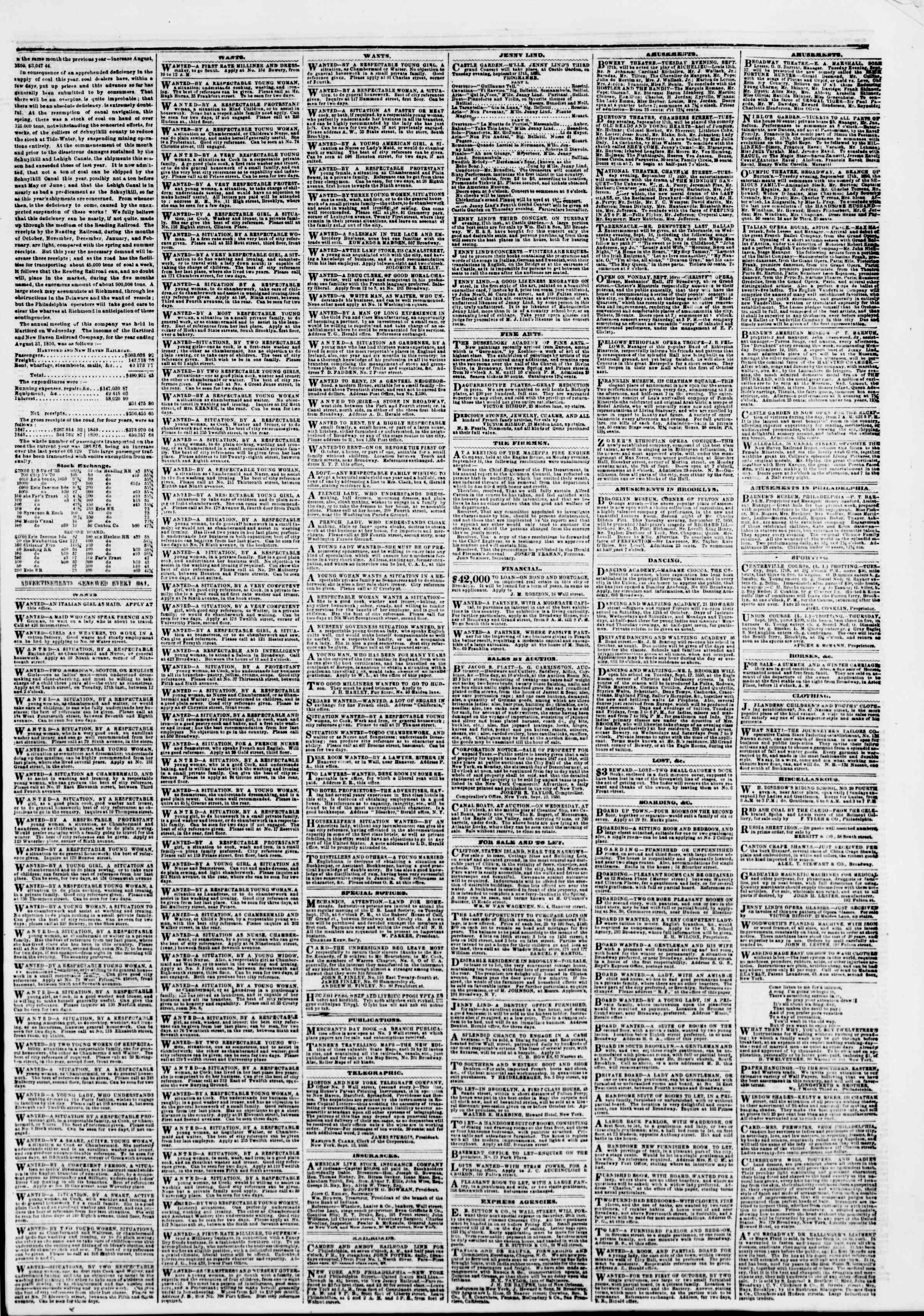 Newspaper of The New York Herald dated September 17, 1850 Page 5