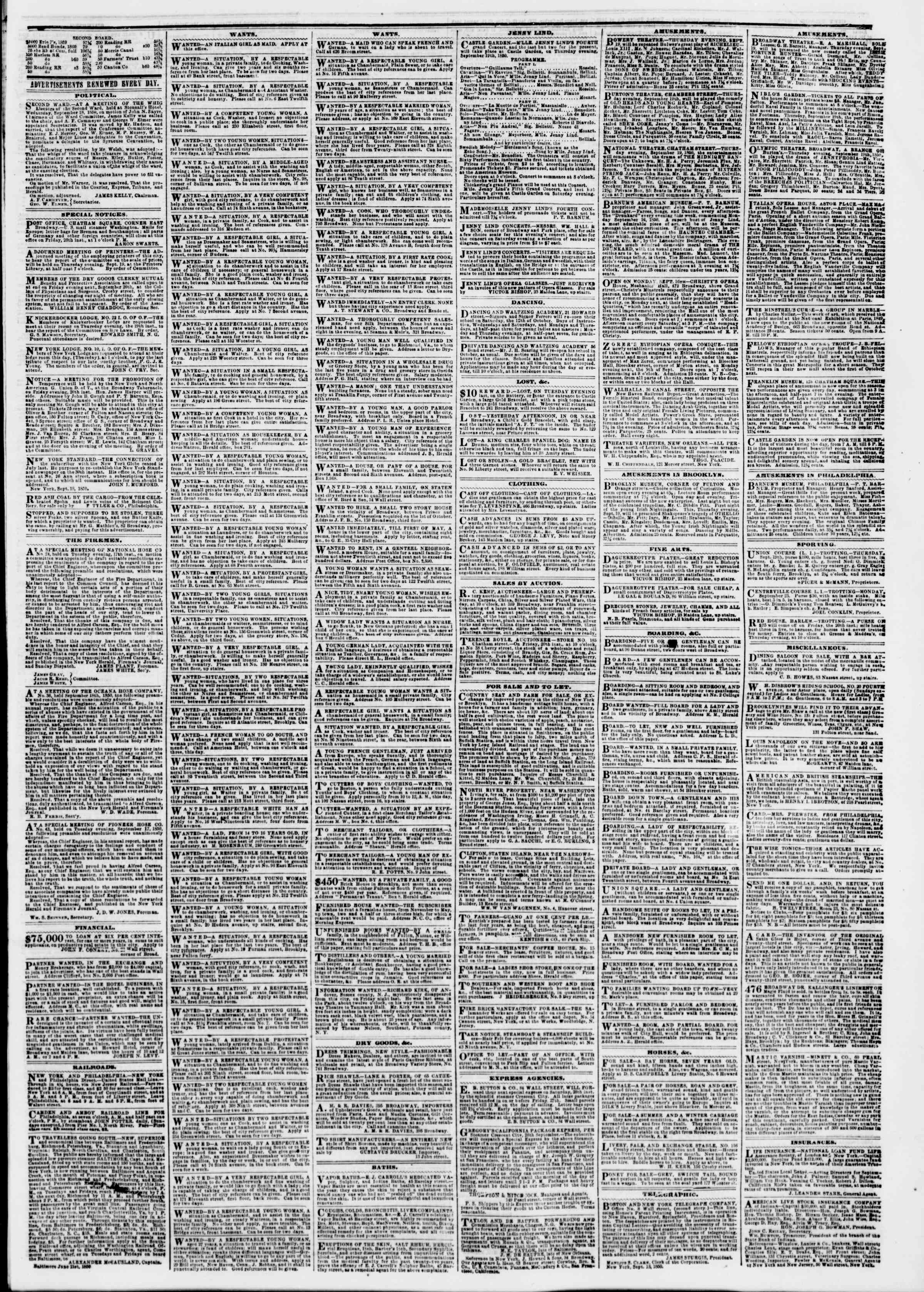 Newspaper of The New York Herald dated September 19, 1850 Page 3