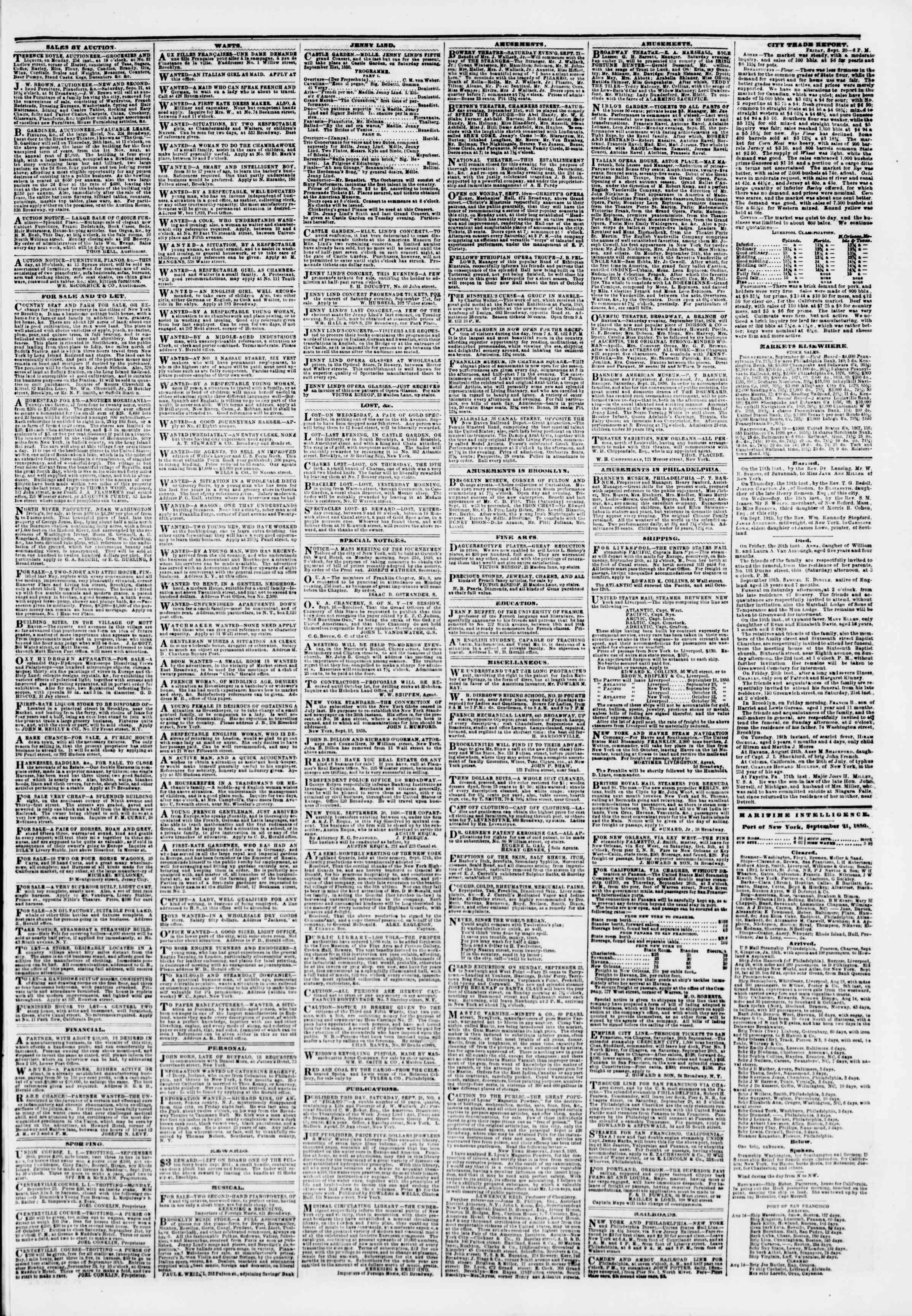 Newspaper of The New York Herald dated September 21, 1850 Page 3