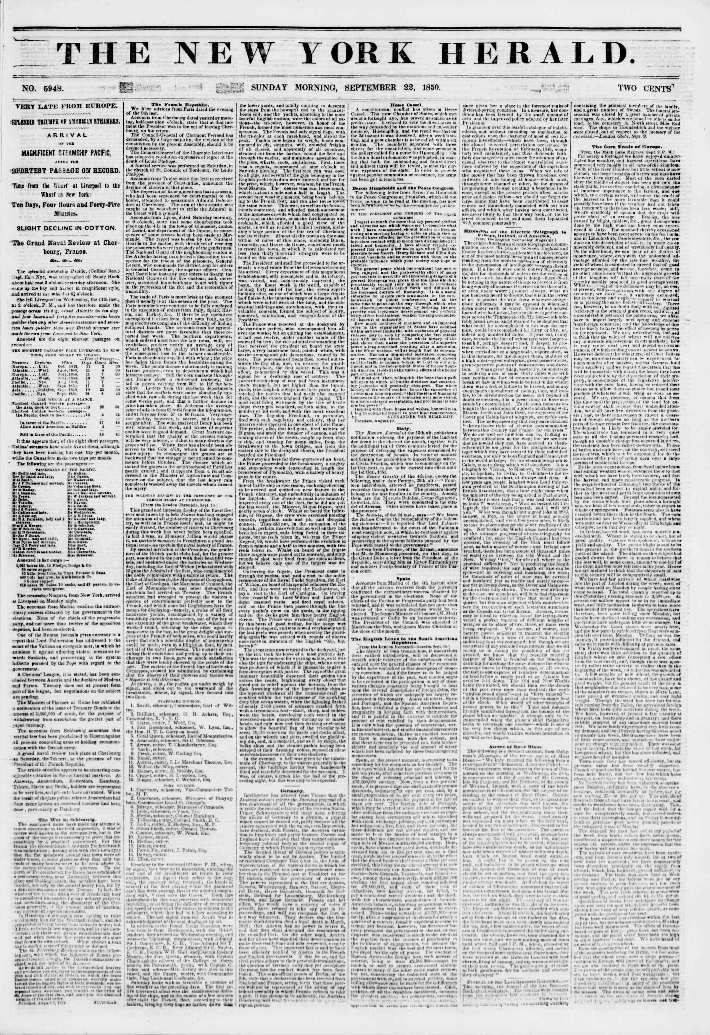Newspaper of The New York Herald dated September 22, 1850 Page 1