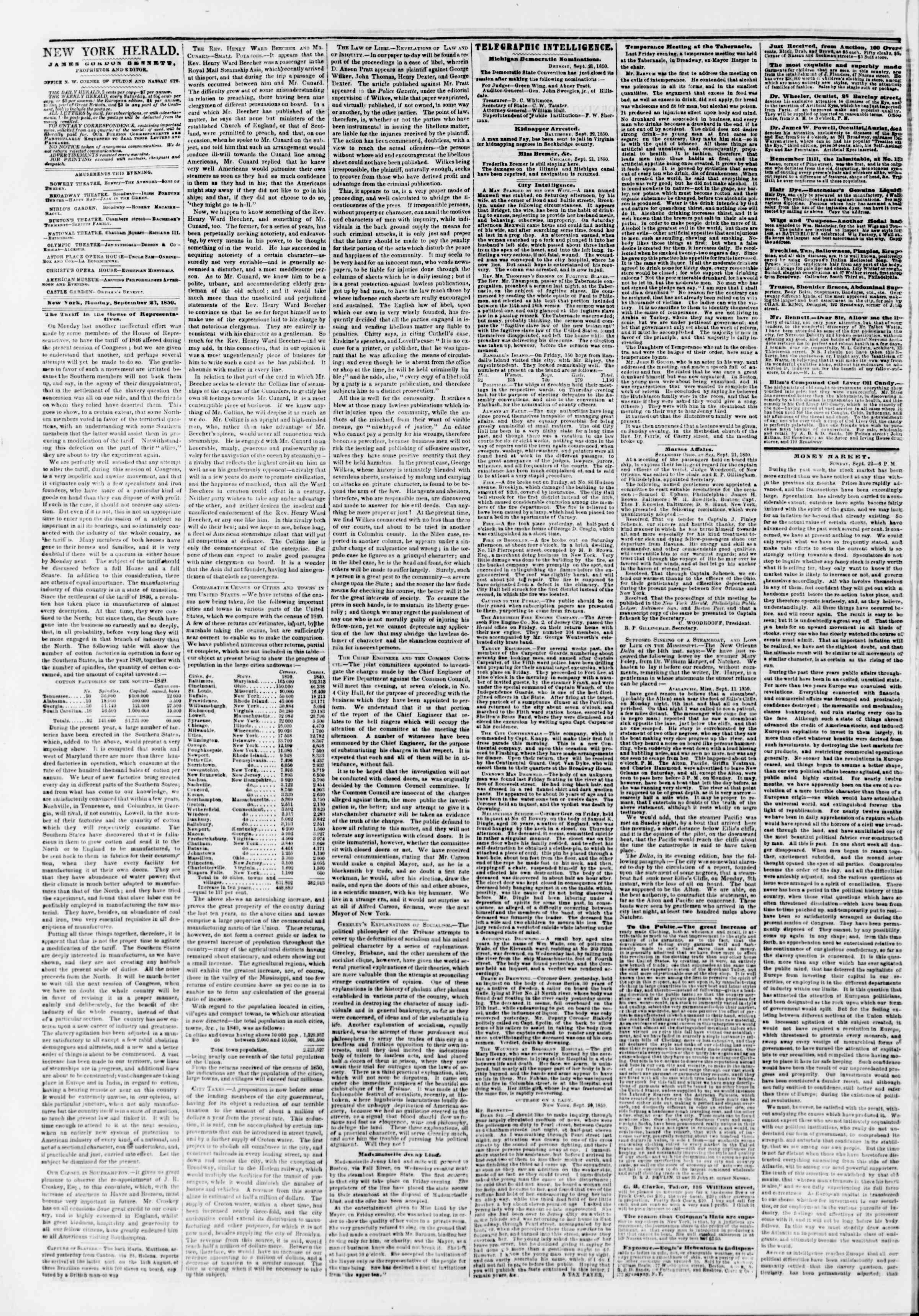 Newspaper of The New York Herald dated September 23, 1850 Page 2