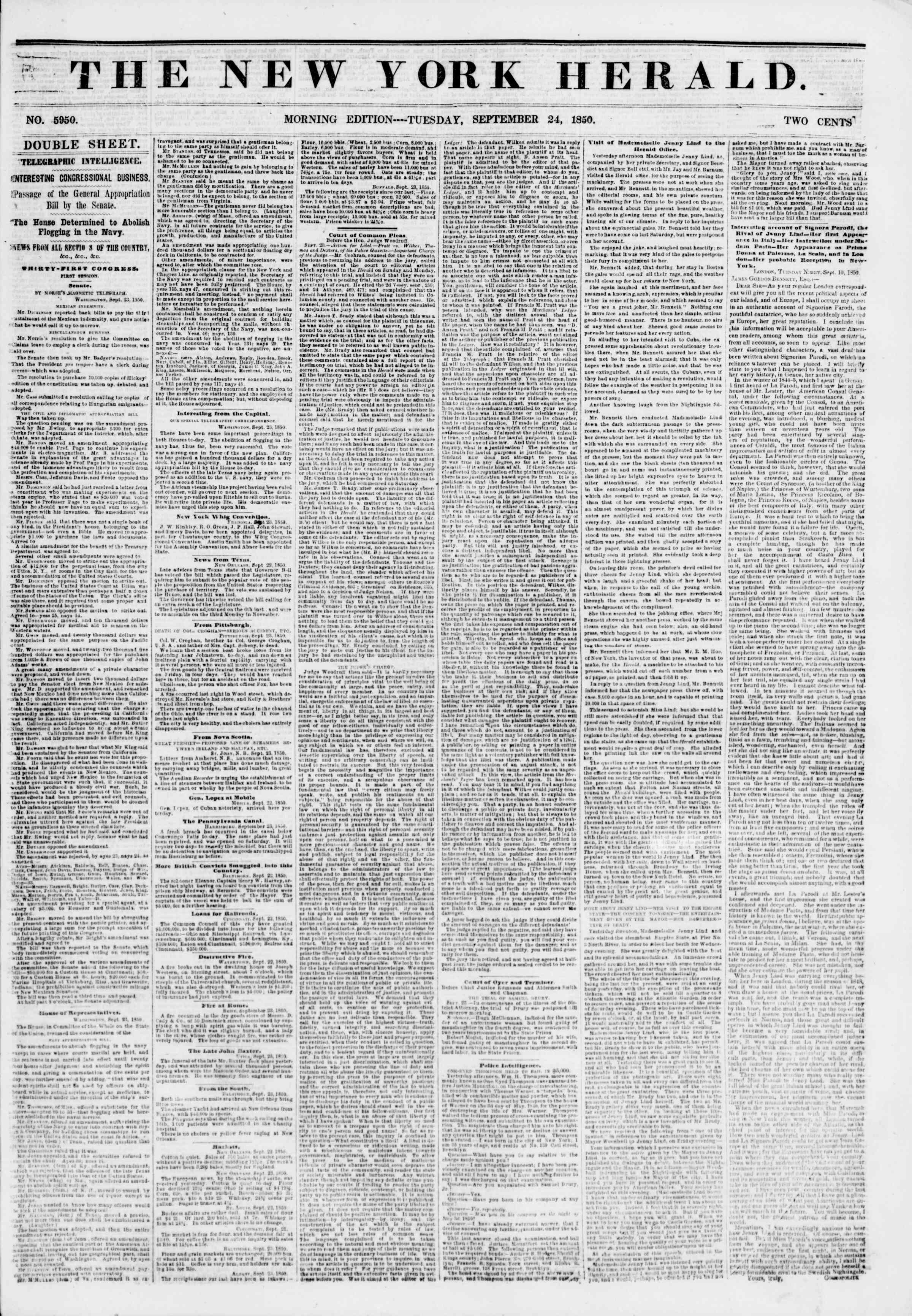 Newspaper of The New York Herald dated September 24, 1850 Page 1