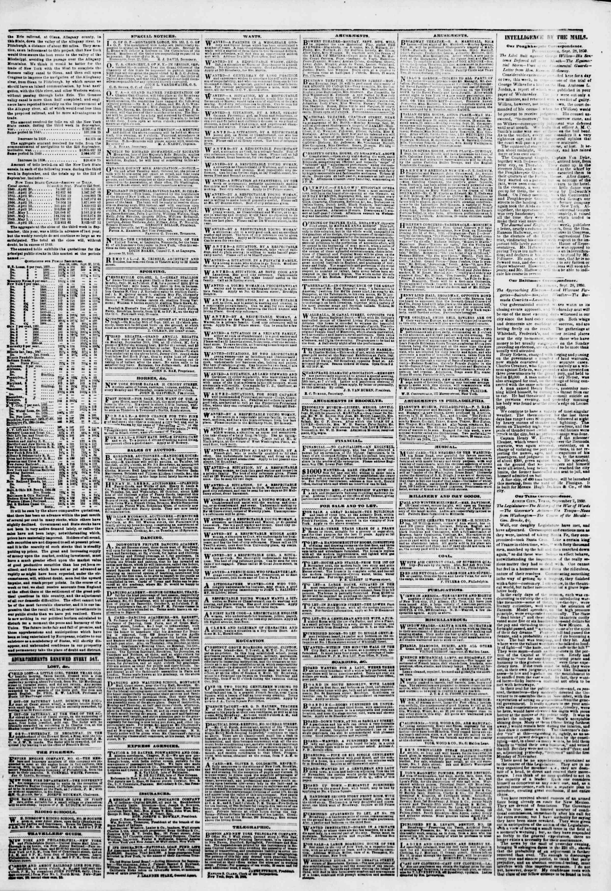 Newspaper of The New York Herald dated September 30, 1850 Page 3
