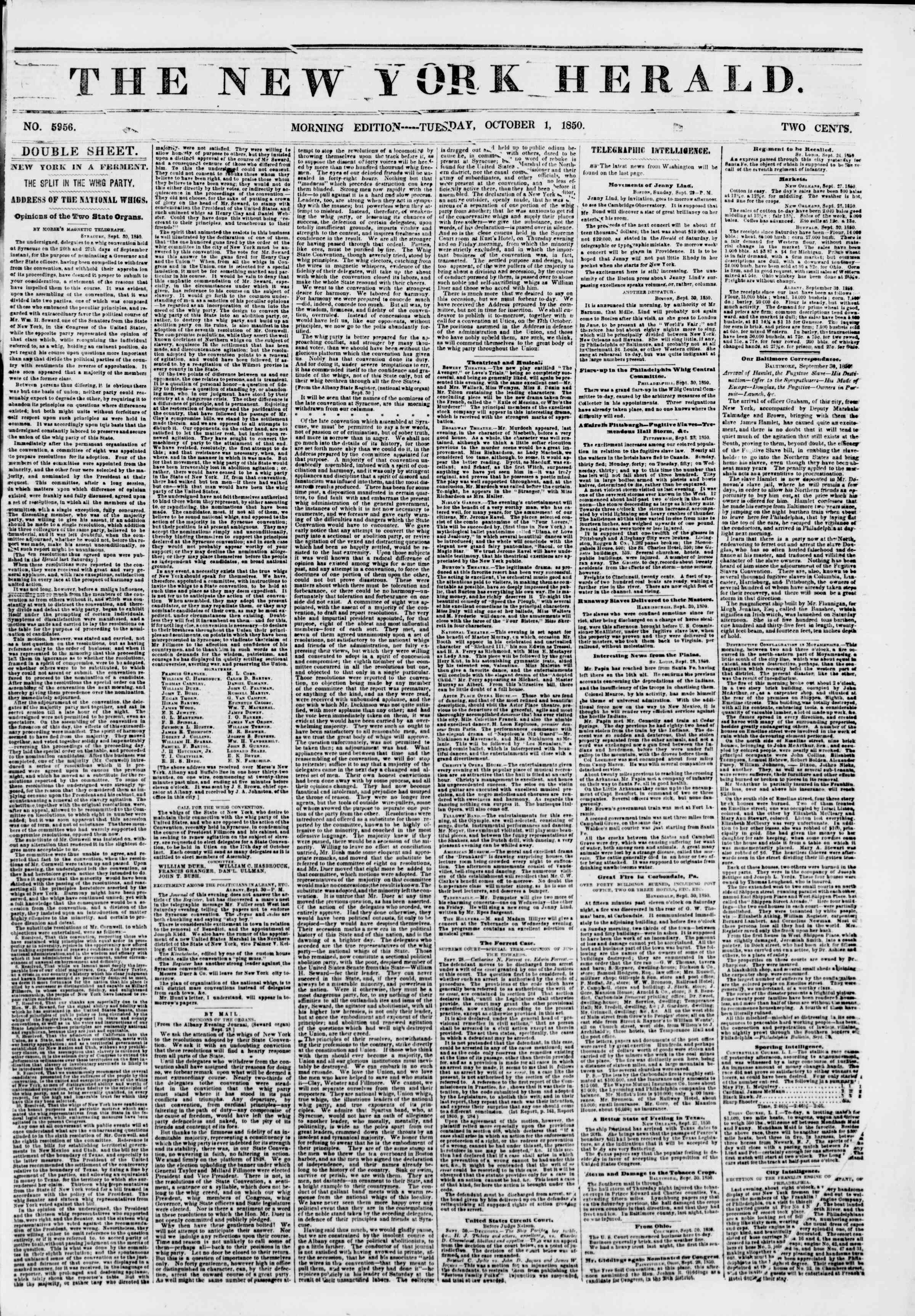 Newspaper of The New York Herald dated October 1, 1850 Page 1