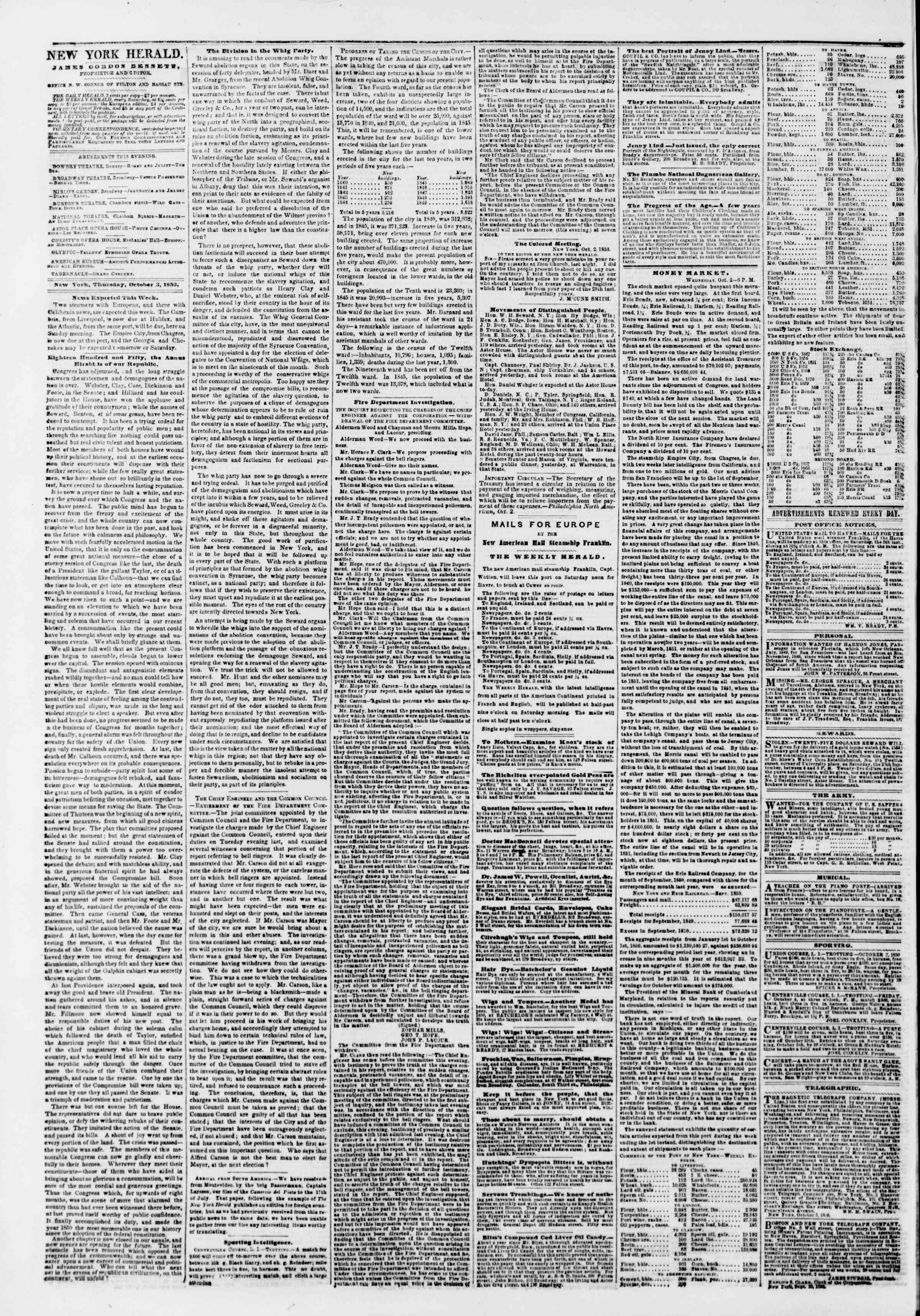 Newspaper of The New York Herald dated October 3, 1850 Page 2