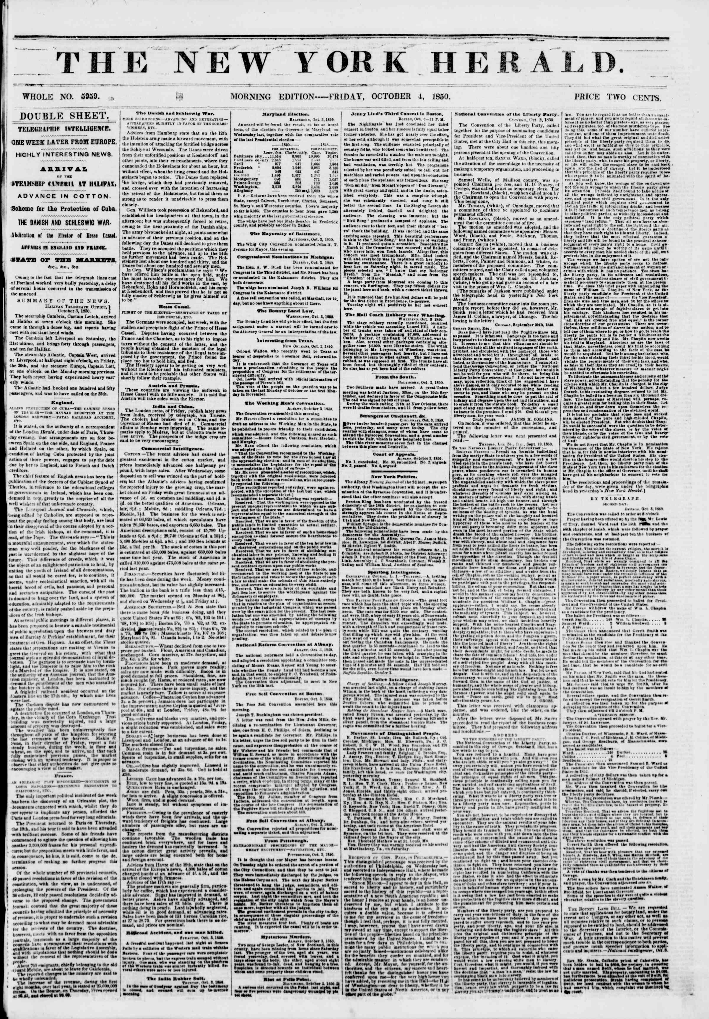 Newspaper of The New York Herald dated October 4, 1850 Page 1