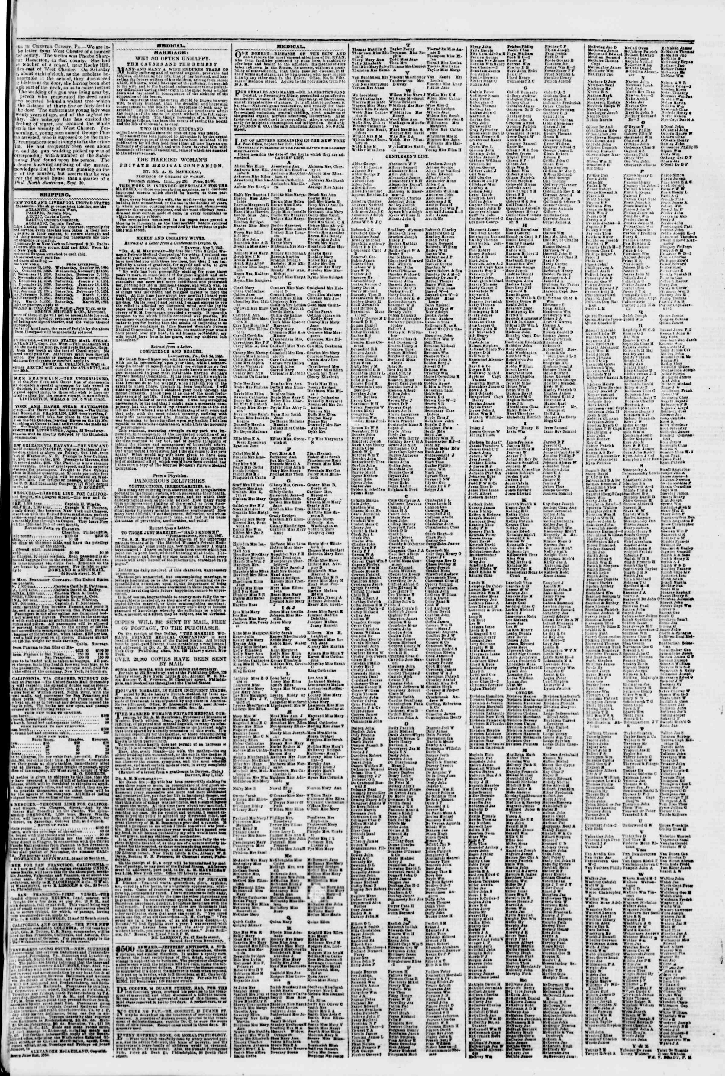 4 Ekim 1850 tarihli The New York Herald Gazetesi Sayfa 7