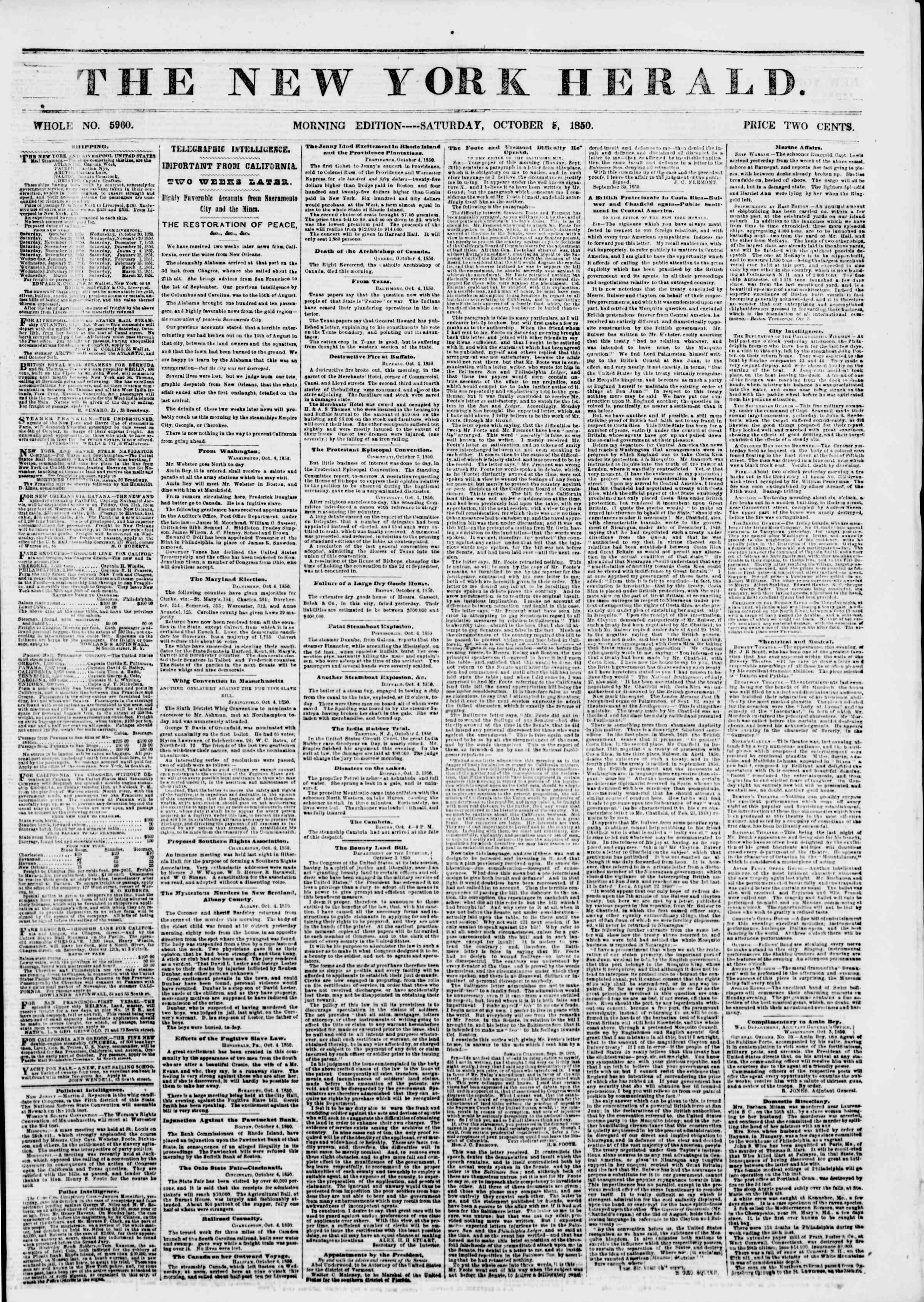 Newspaper of The New York Herald dated October 5, 1850 Page 1