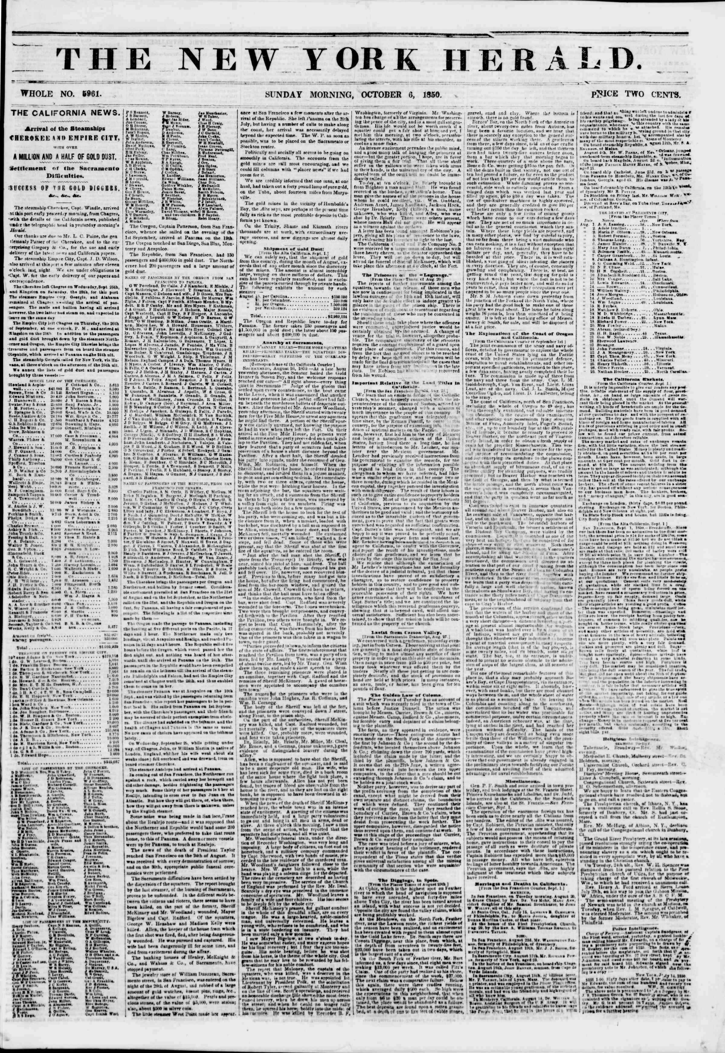 Newspaper of The New York Herald dated October 6, 1850 Page 1