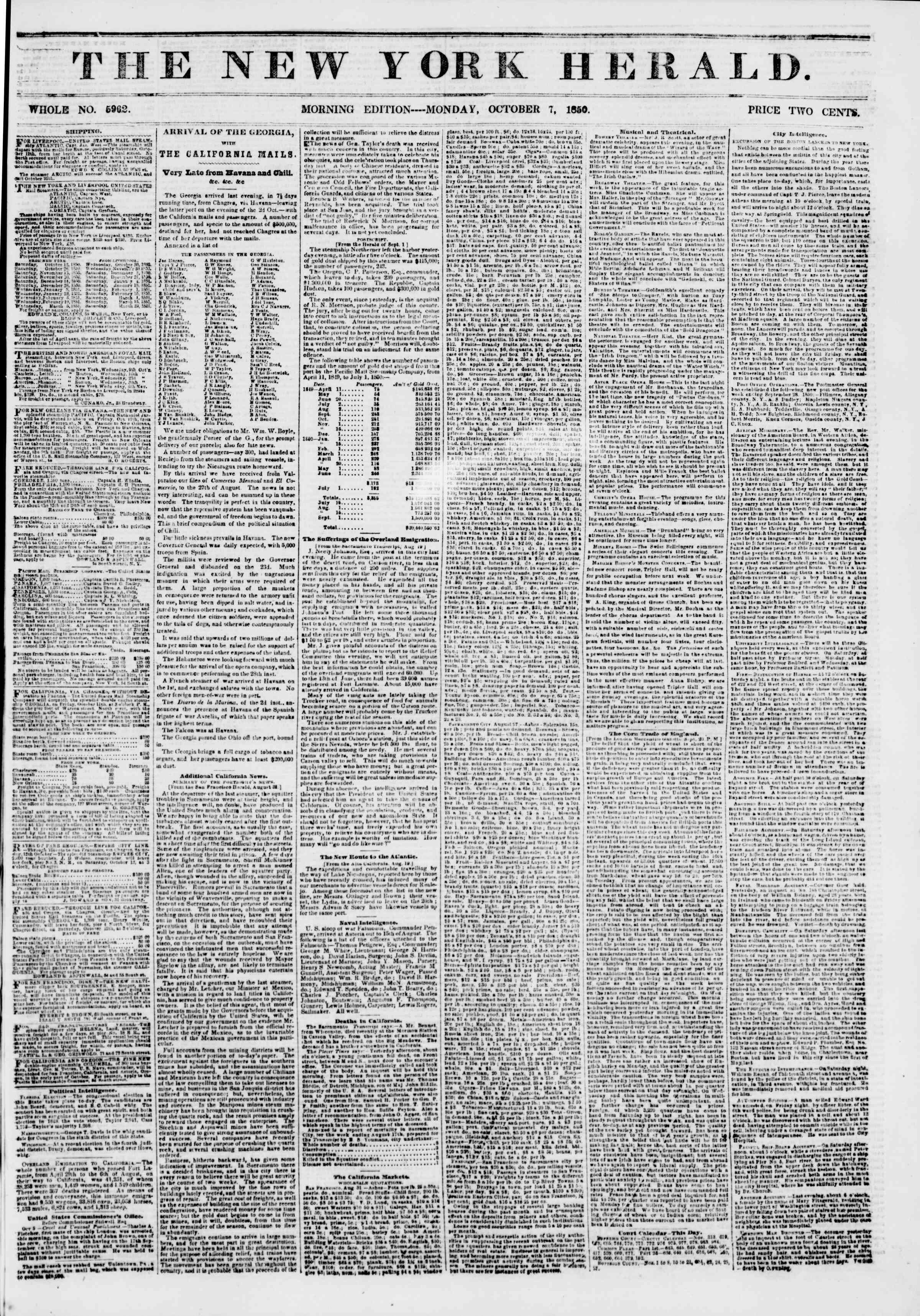 Newspaper of The New York Herald dated October 7, 1850 Page 1