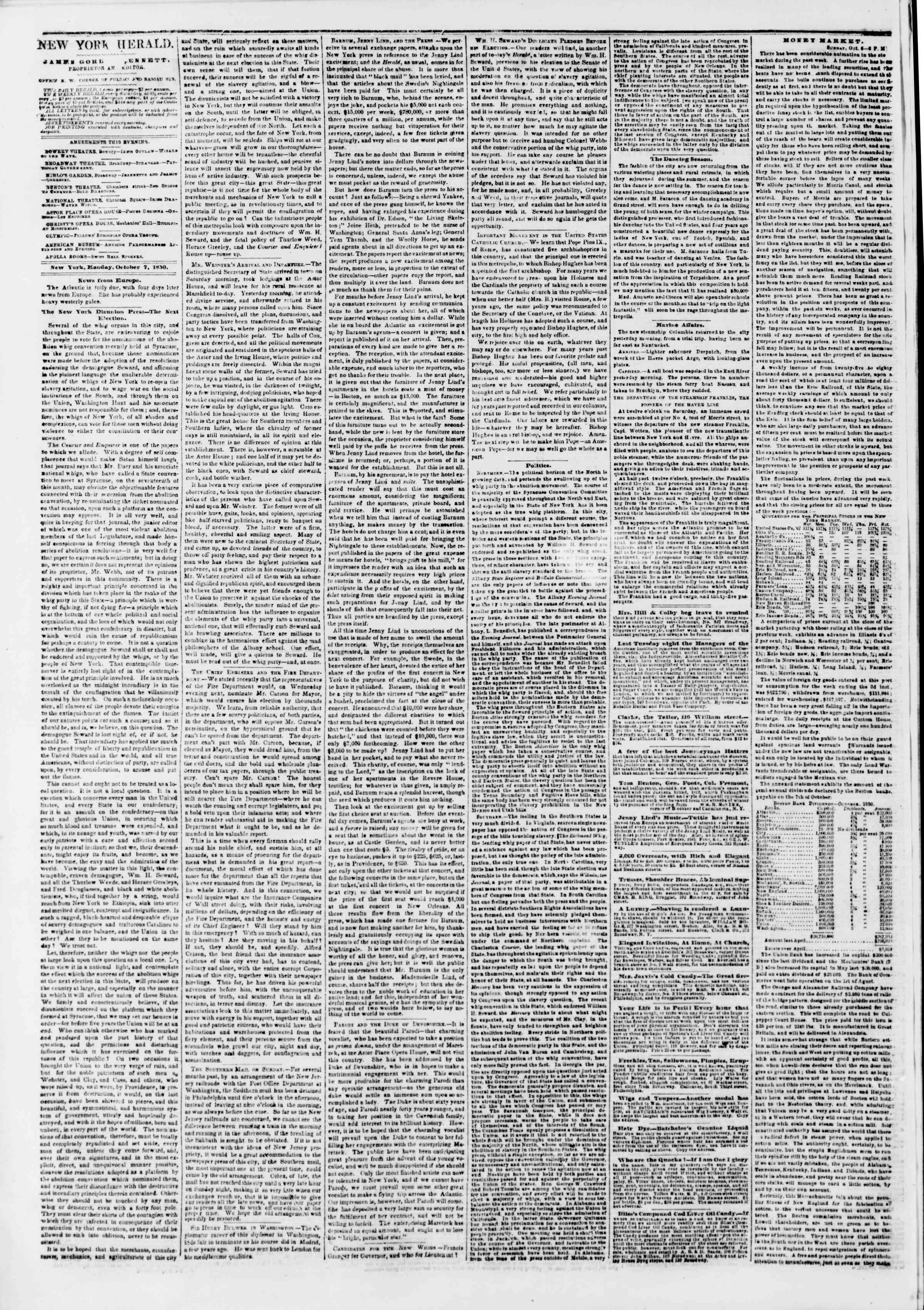 Newspaper of The New York Herald dated October 7, 1850 Page 2