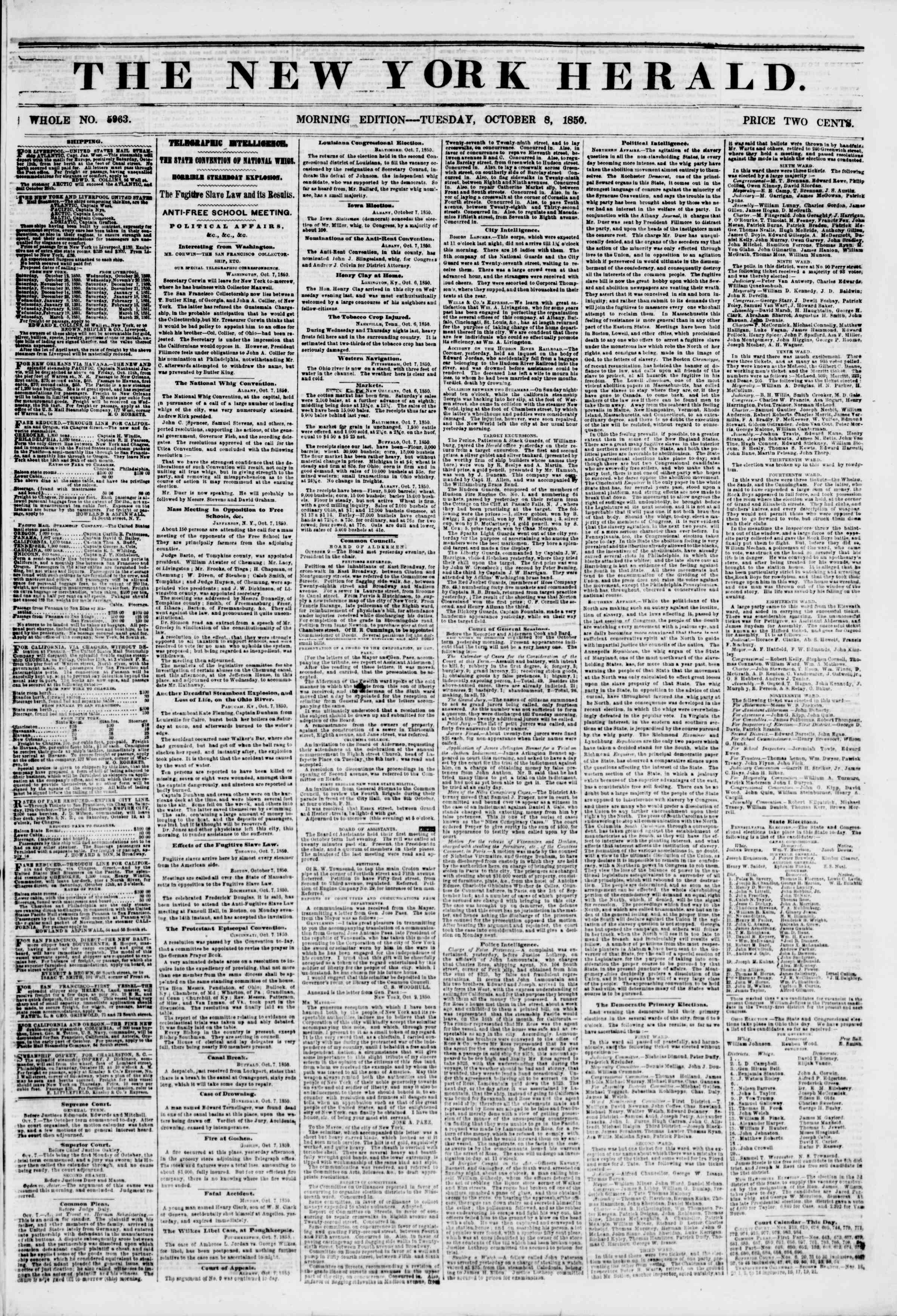 Newspaper of The New York Herald dated October 8, 1850 Page 1