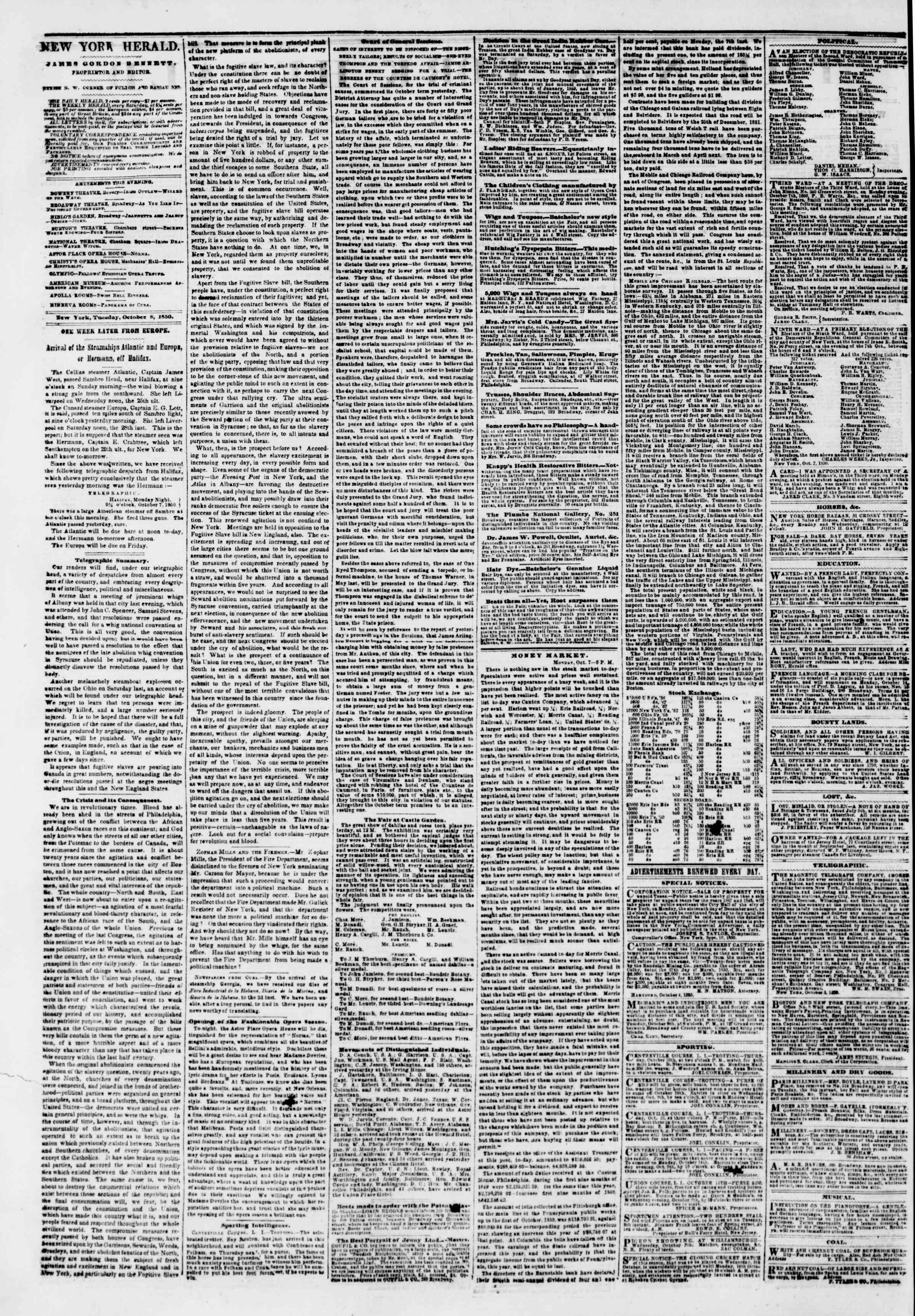 Newspaper of The New York Herald dated October 8, 1850 Page 2