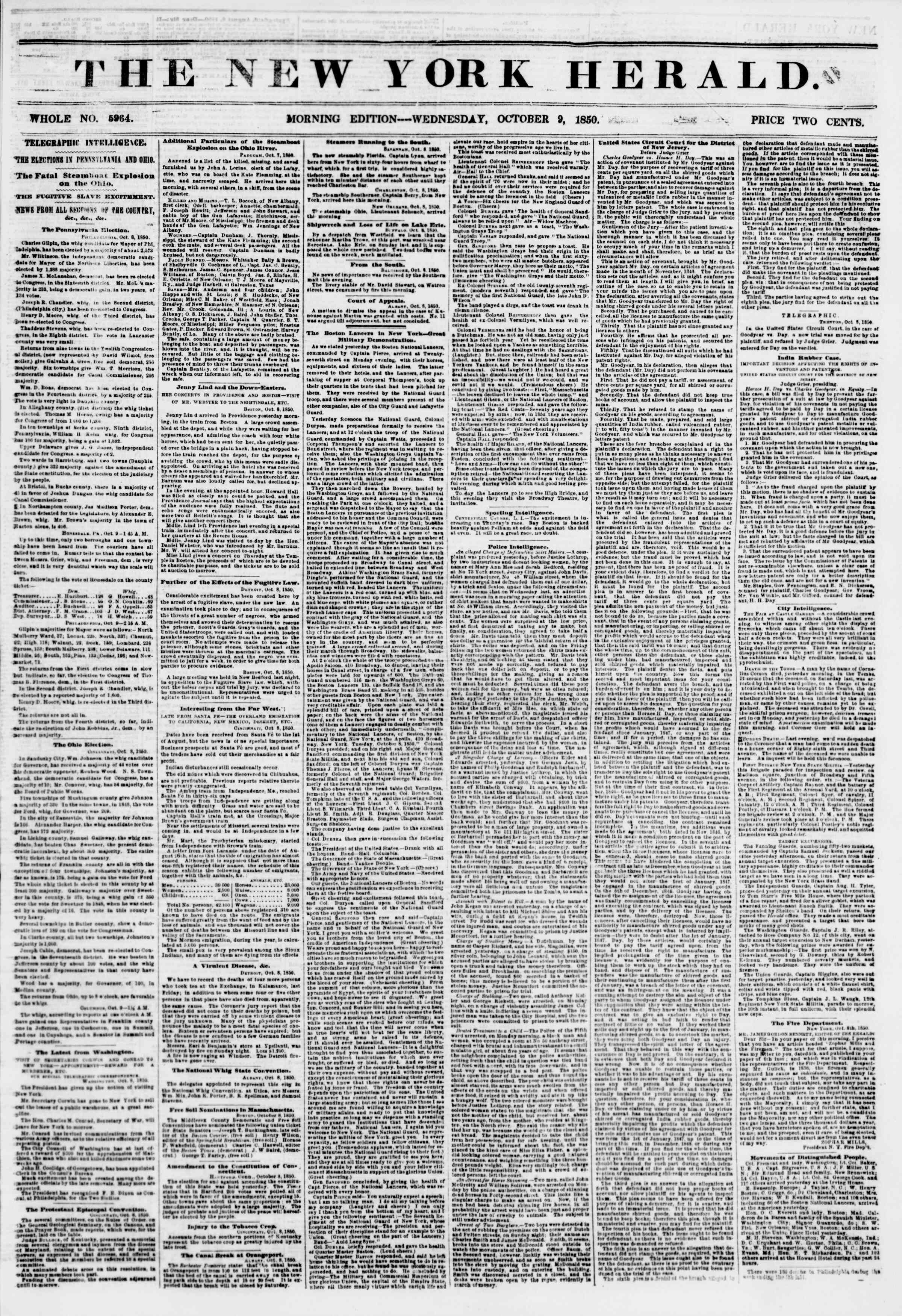 Newspaper of The New York Herald dated October 9, 1850 Page 1