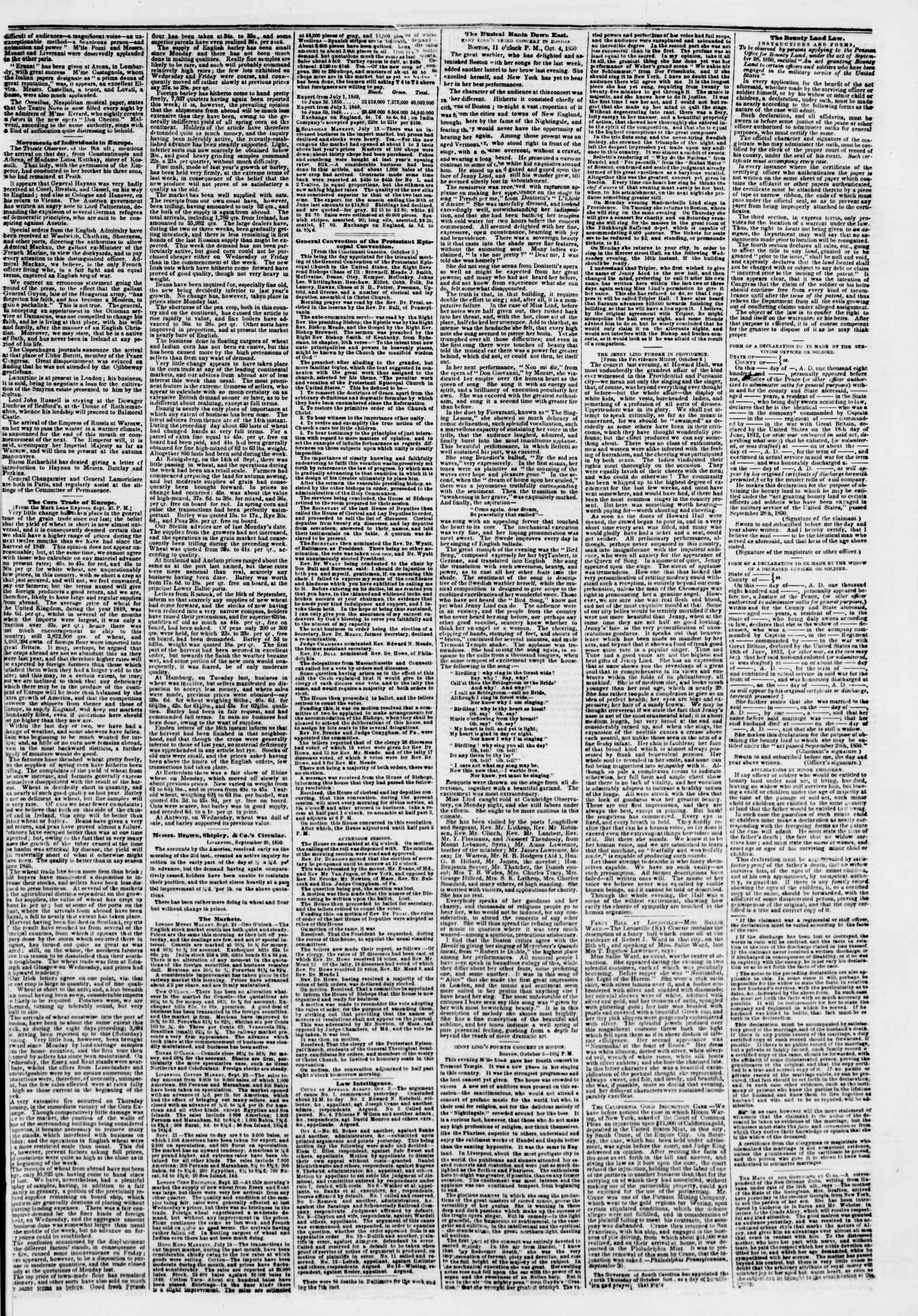 Newspaper of The New York Herald dated October 10, 1850 Page 3
