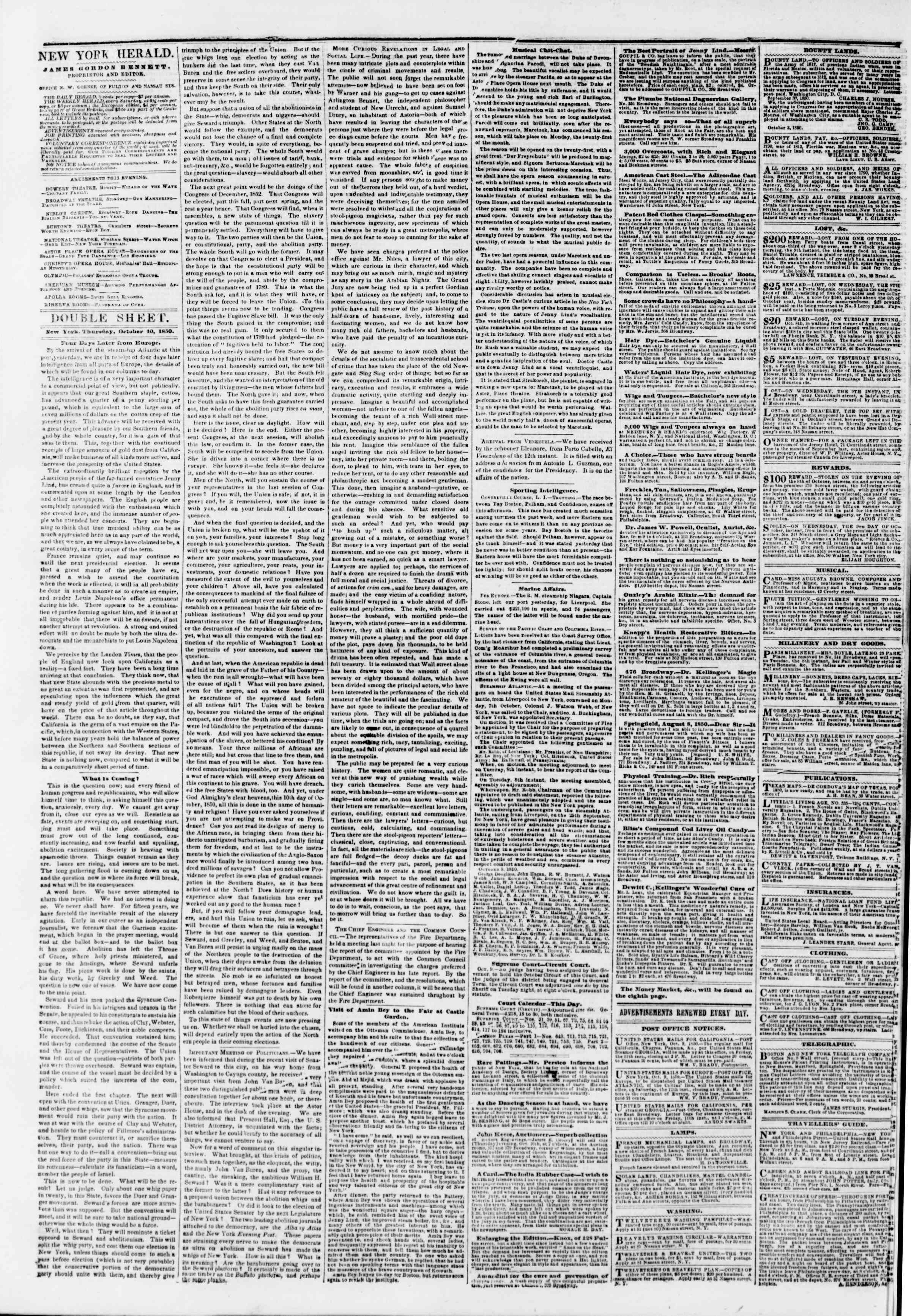 Newspaper of The New York Herald dated October 10, 1850 Page 4