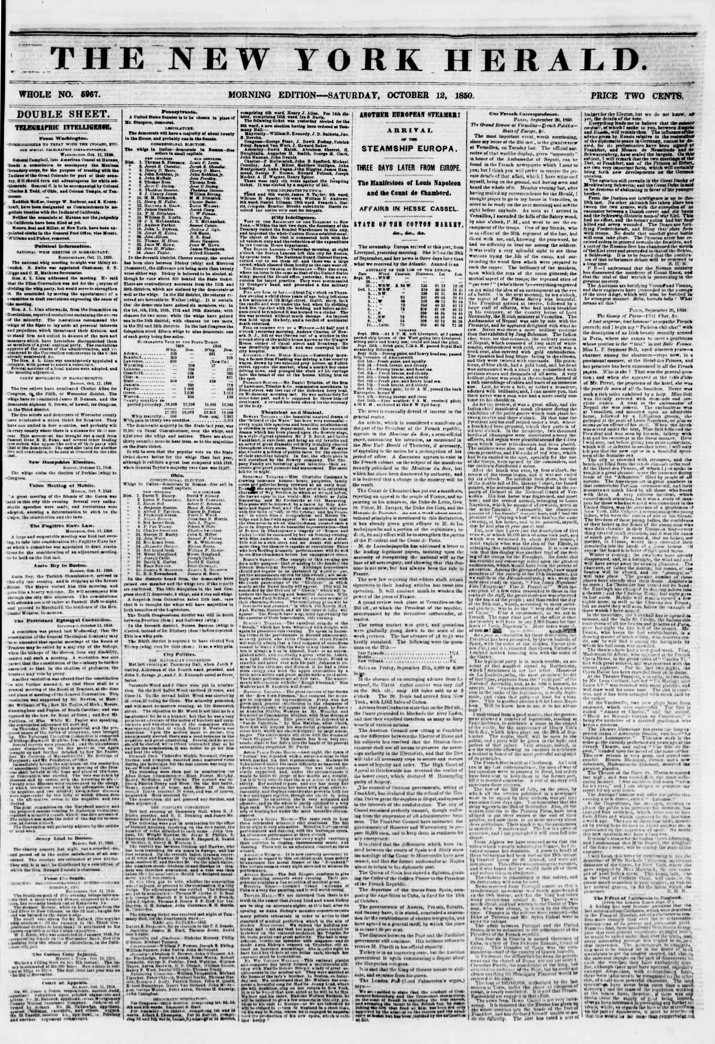 Newspaper of The New York Herald dated October 12, 1850 Page 1
