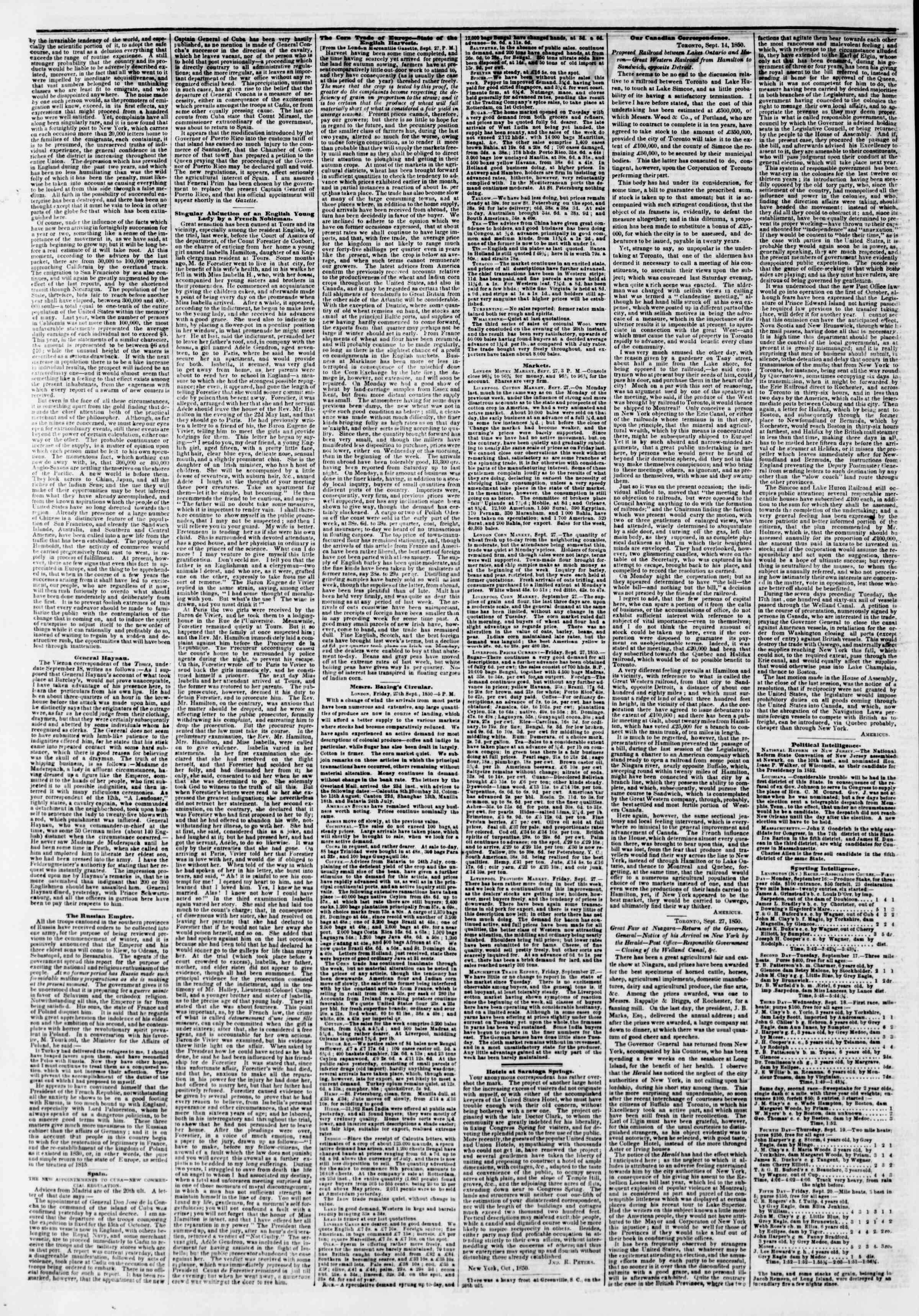 12 Ekim 1850 tarihli The New York Herald Gazetesi Sayfa 2