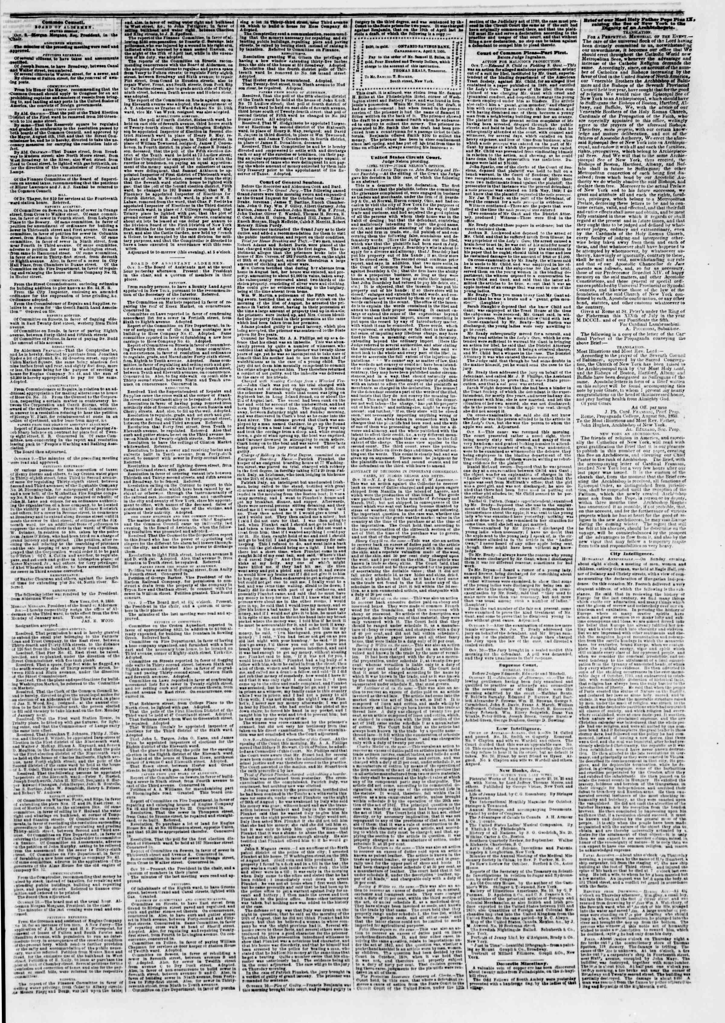 12 Ekim 1850 tarihli The New York Herald Gazetesi Sayfa 3