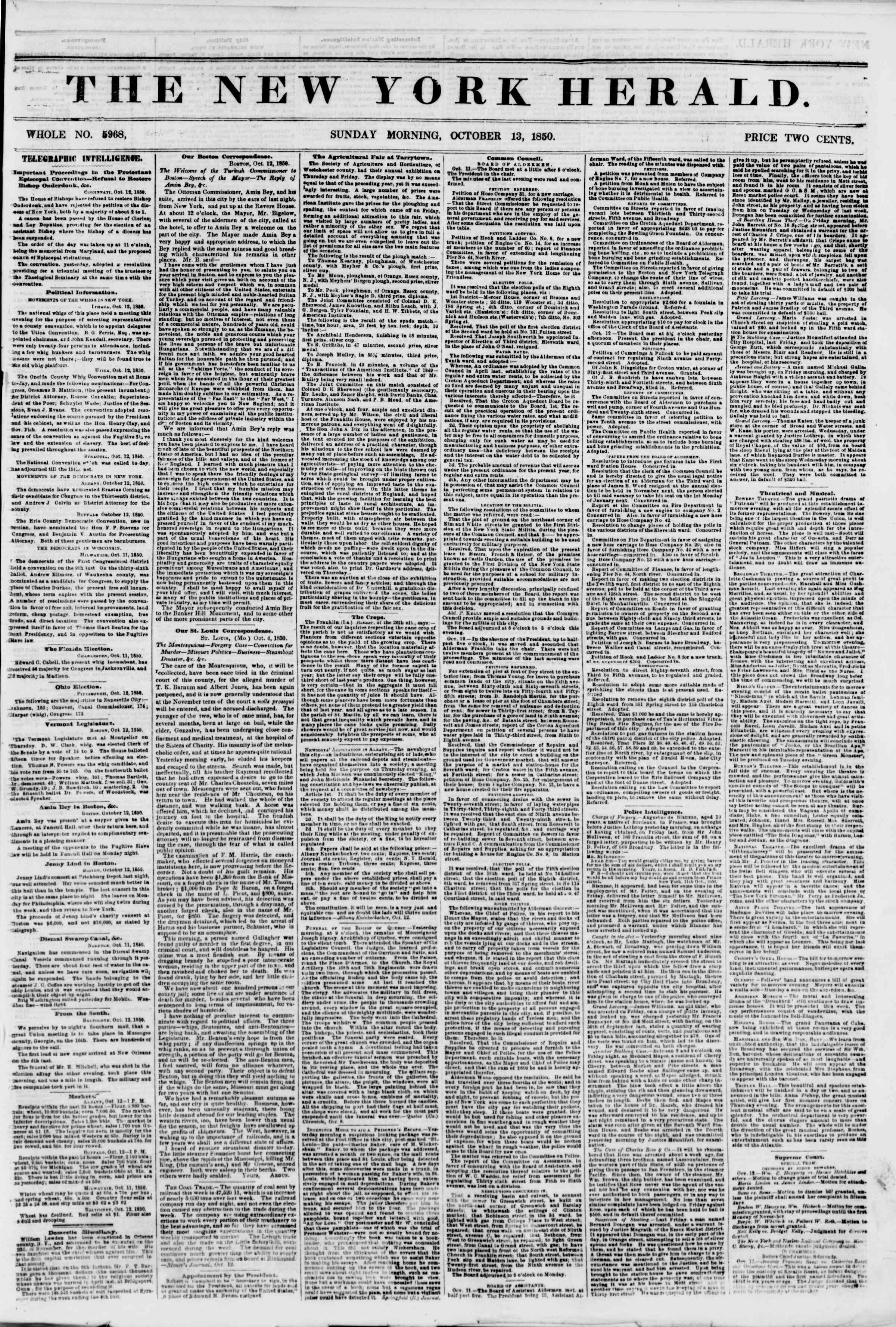 Newspaper of The New York Herald dated October 13, 1850 Page 1