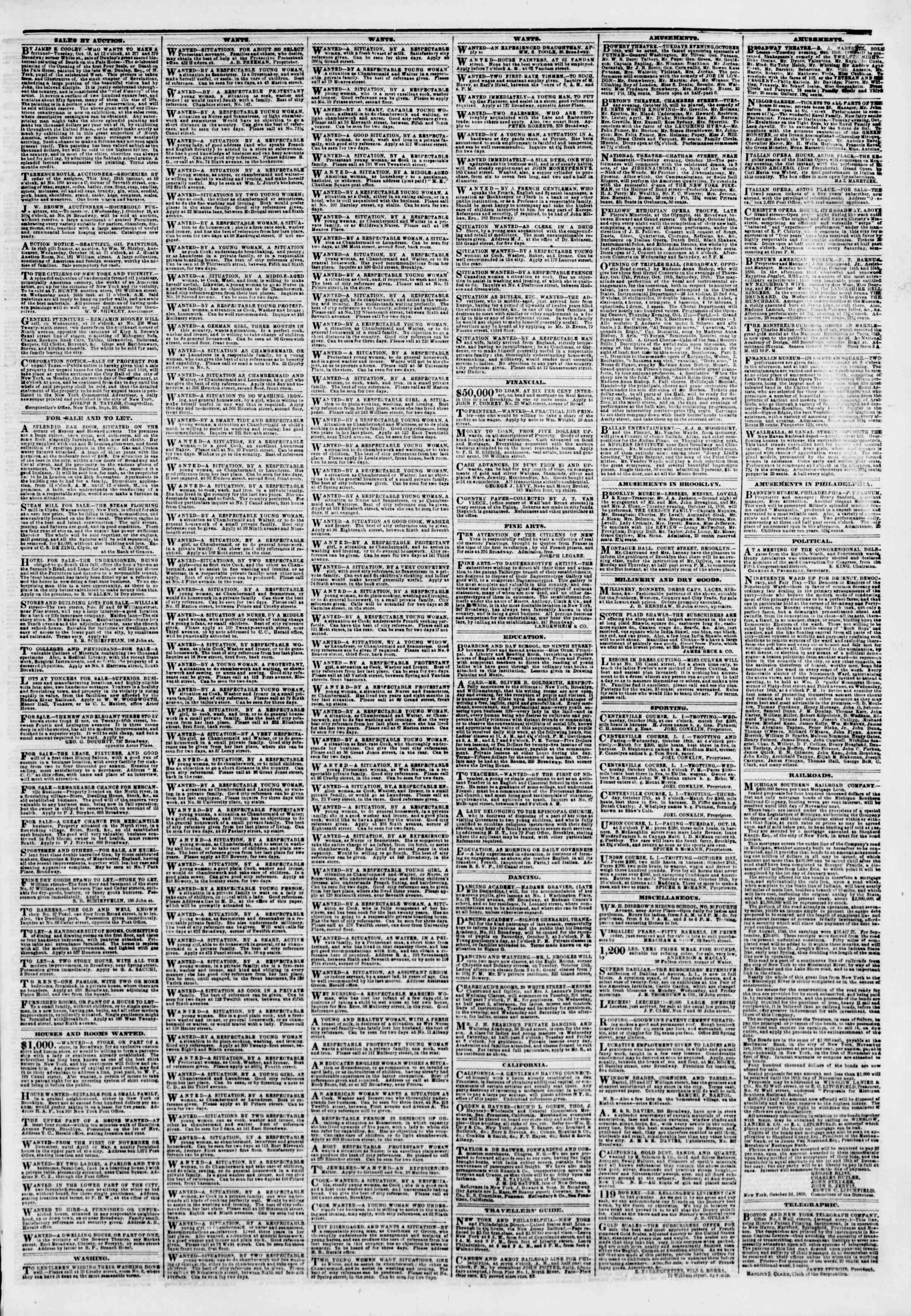Newspaper of The New York Herald dated October 15, 1850 Page 3