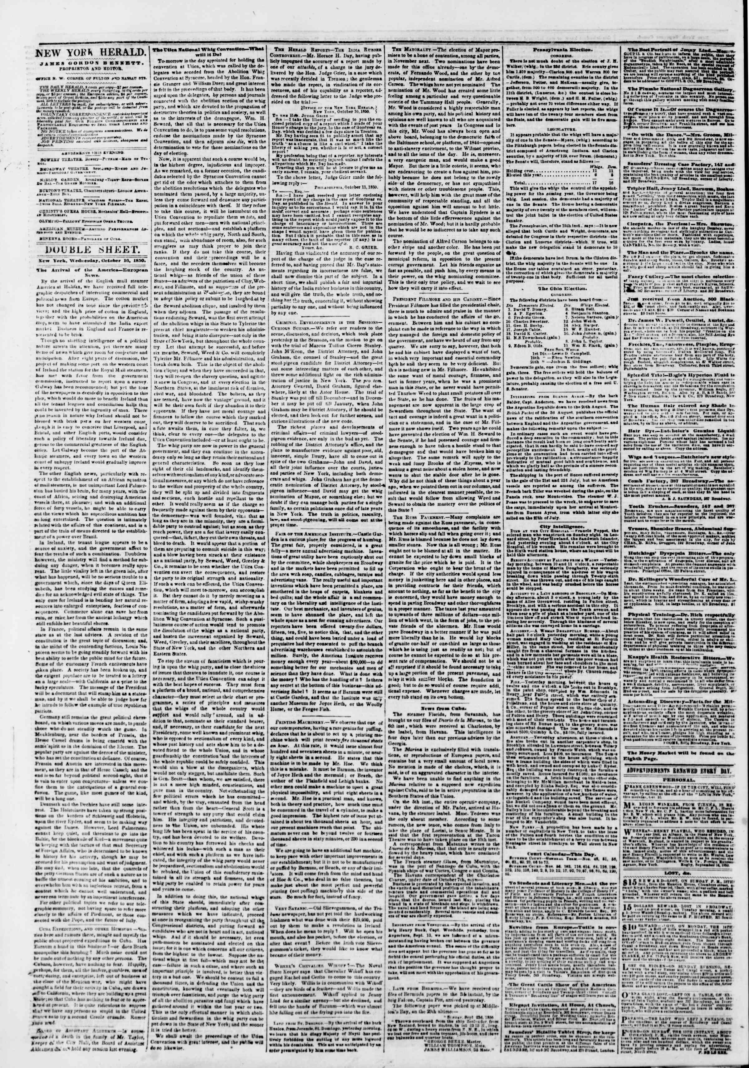 Newspaper of The New York Herald dated October 16, 1850 Page 4