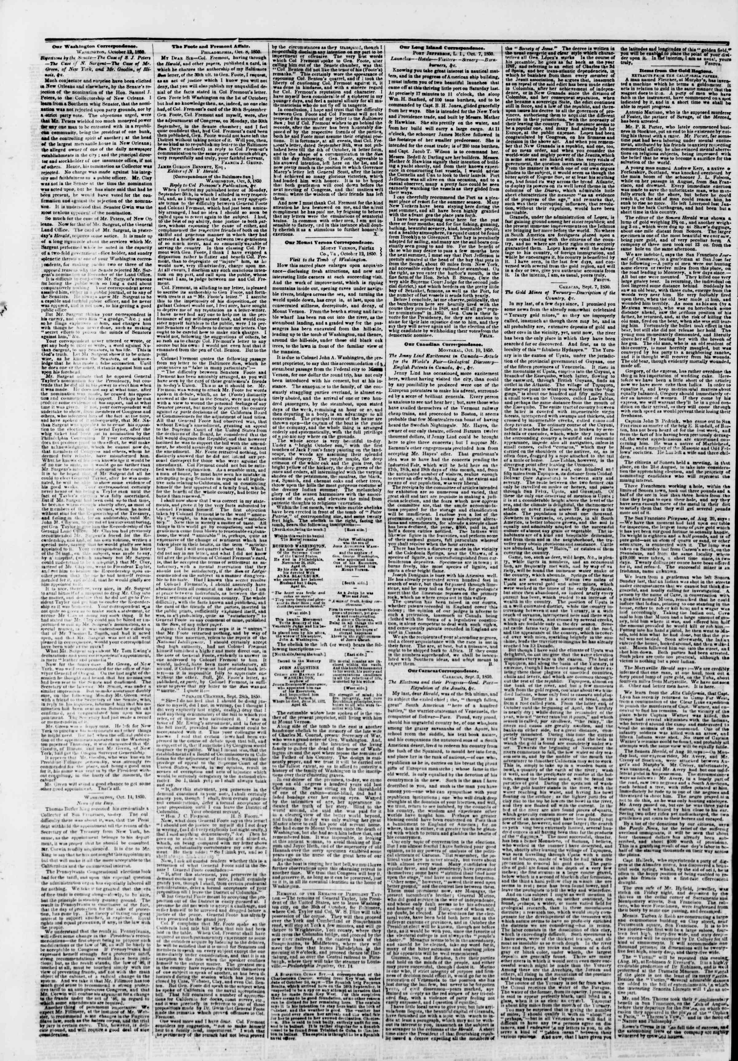 Newspaper of The New York Herald dated October 16, 1850 Page 6
