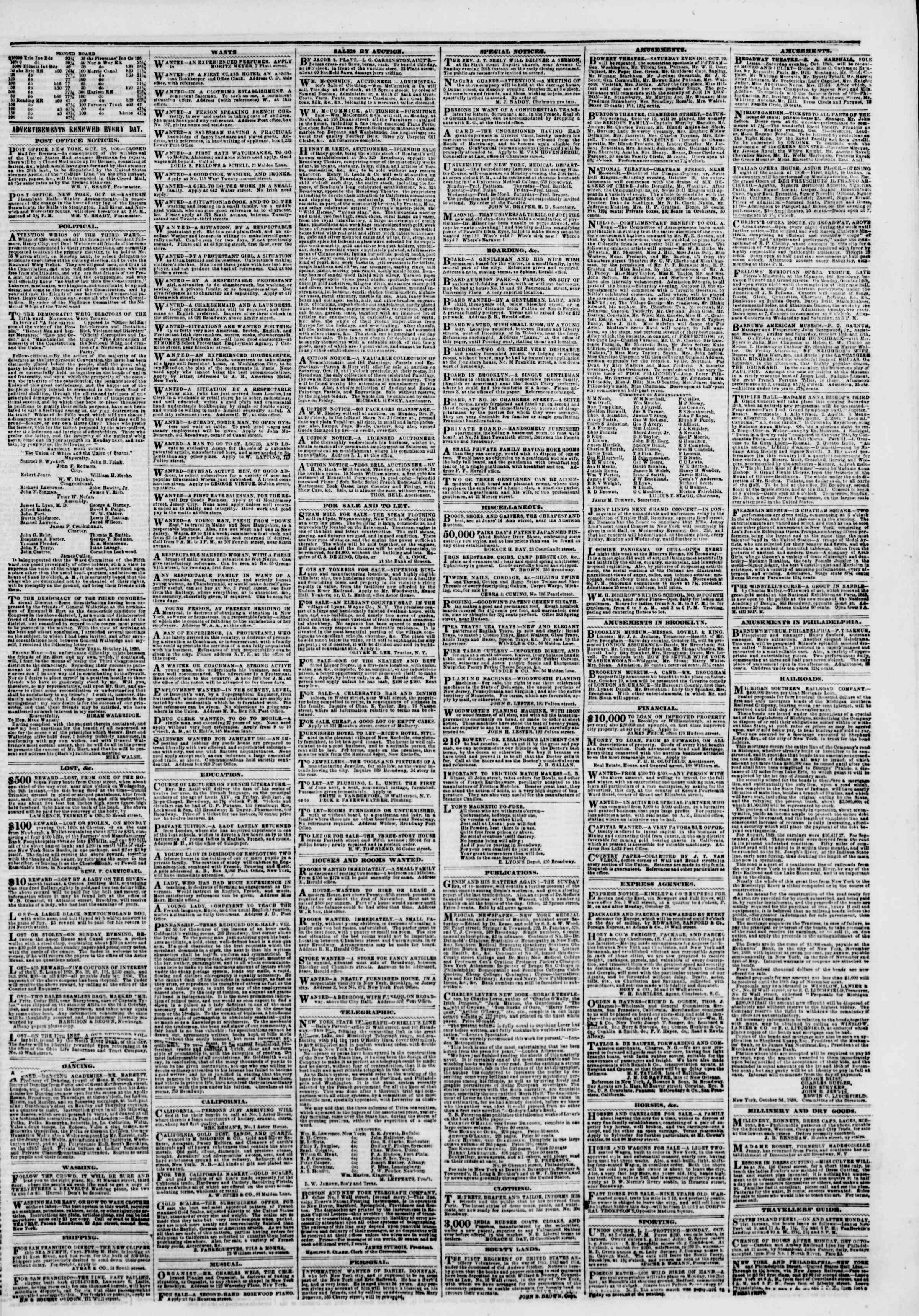 Newspaper of The New York Herald dated October 19, 1850 Page 5