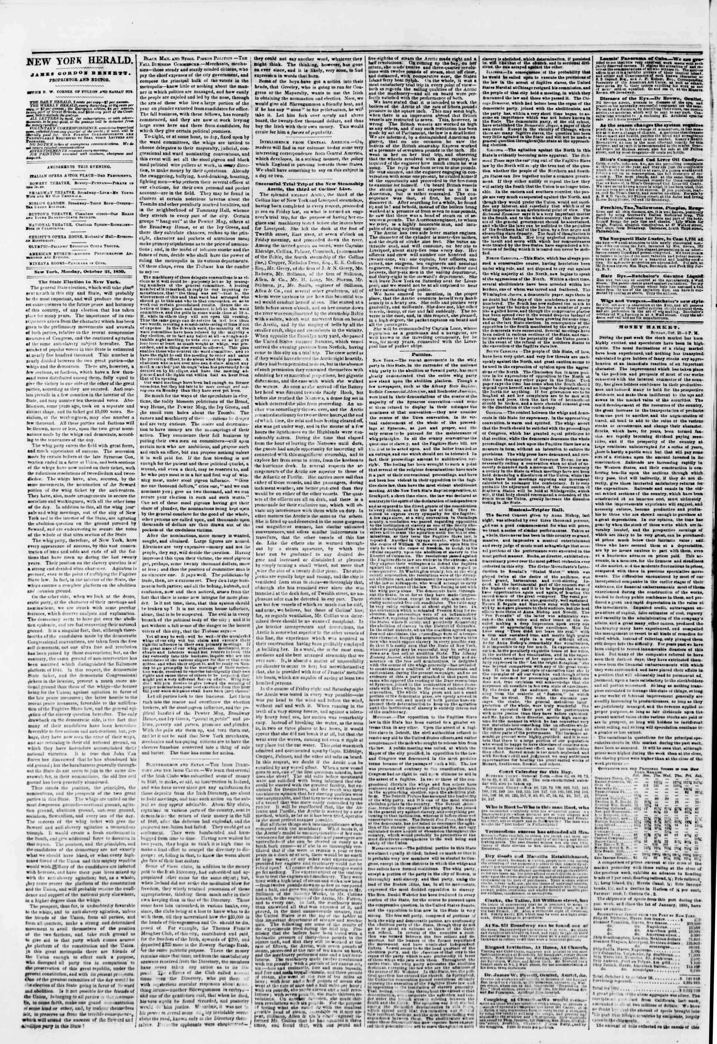 Newspaper of The New York Herald dated October 21, 1850 Page 2