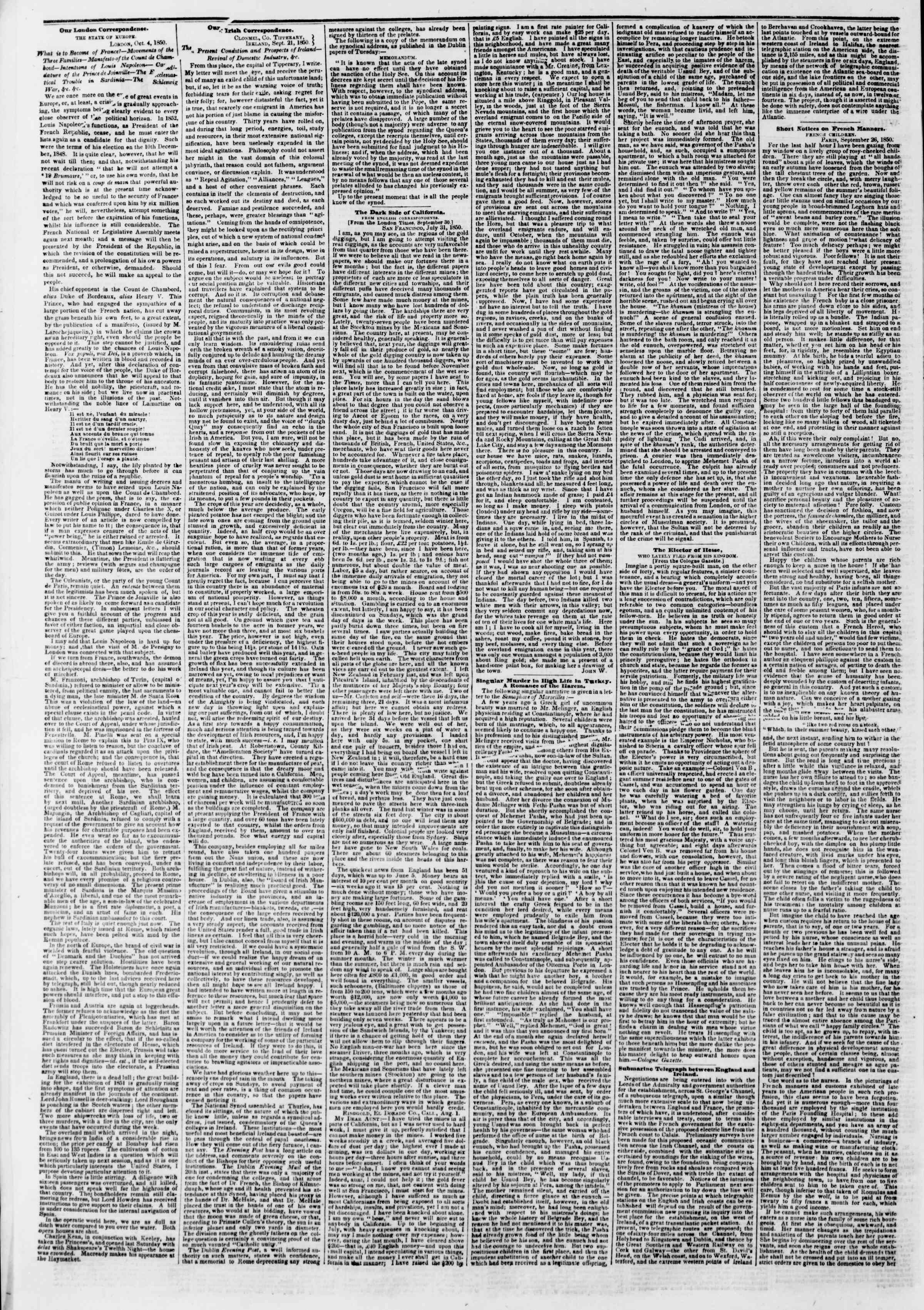 Newspaper of The New York Herald dated October 22, 1850 Page 2