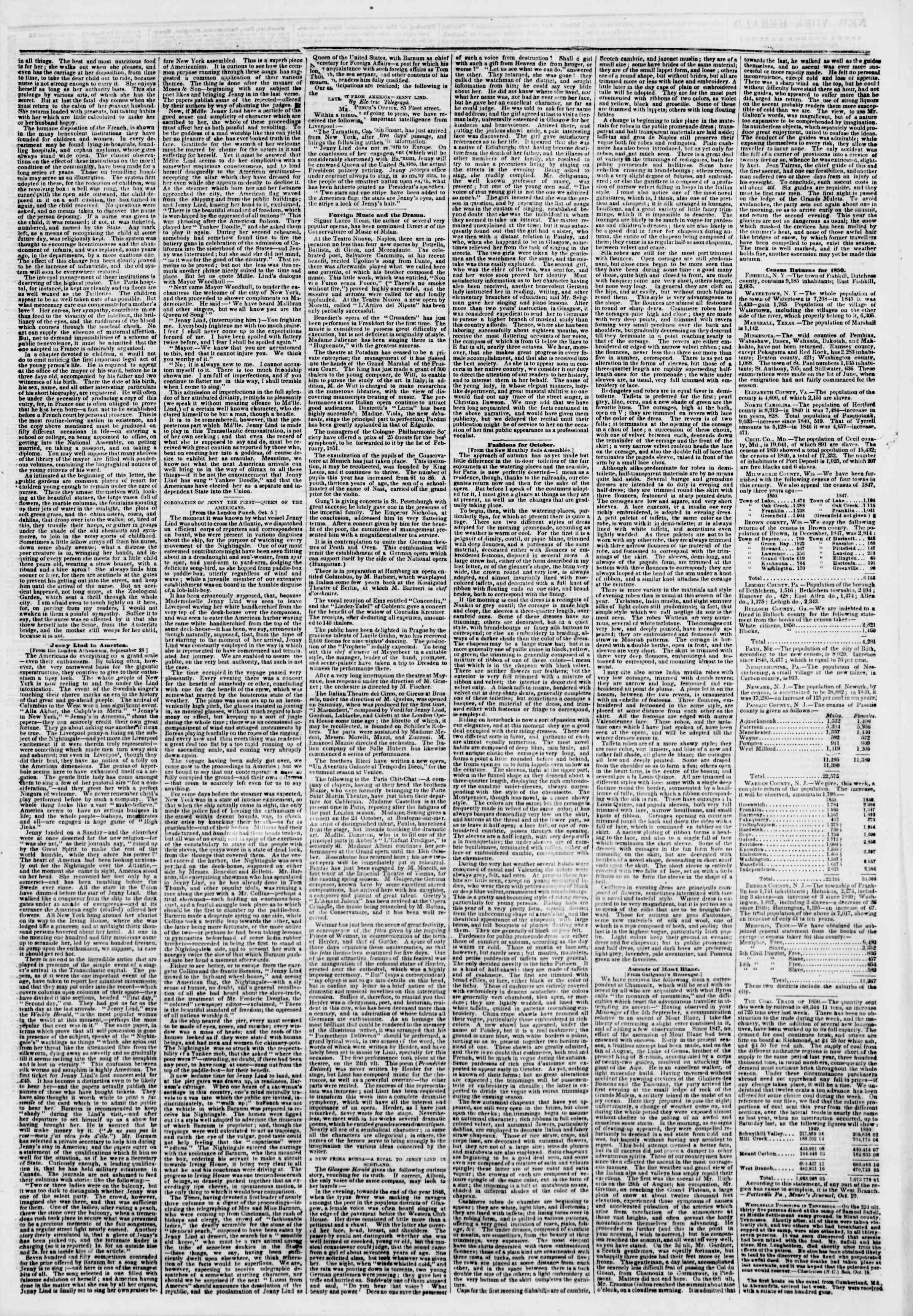 Newspaper of The New York Herald dated October 22, 1850 Page 3