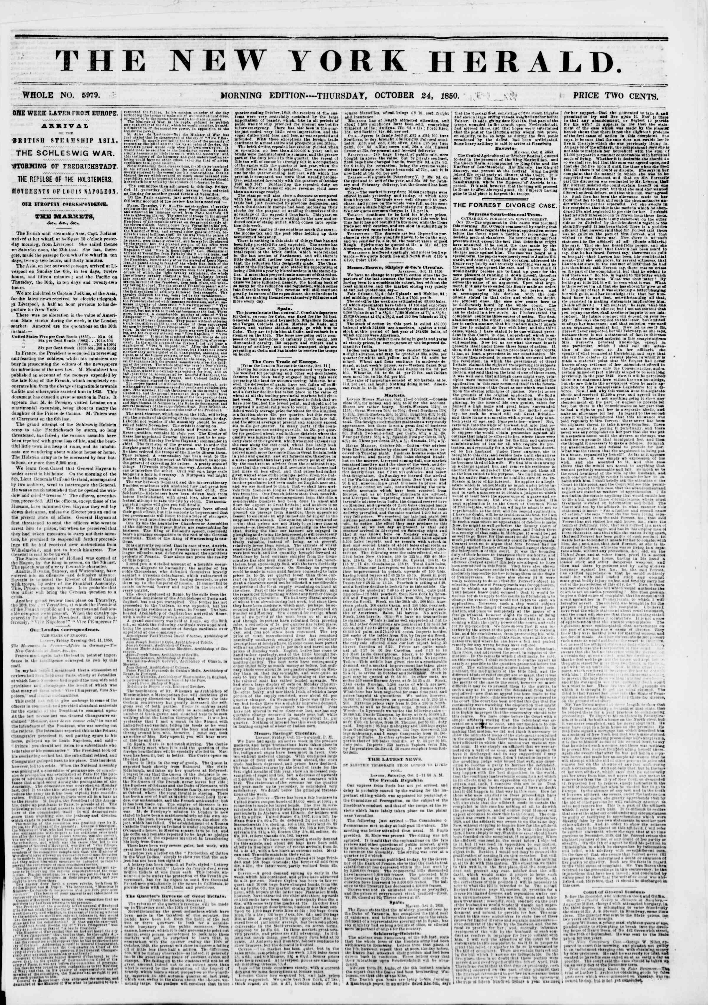 Newspaper of The New York Herald dated October 24, 1850 Page 1