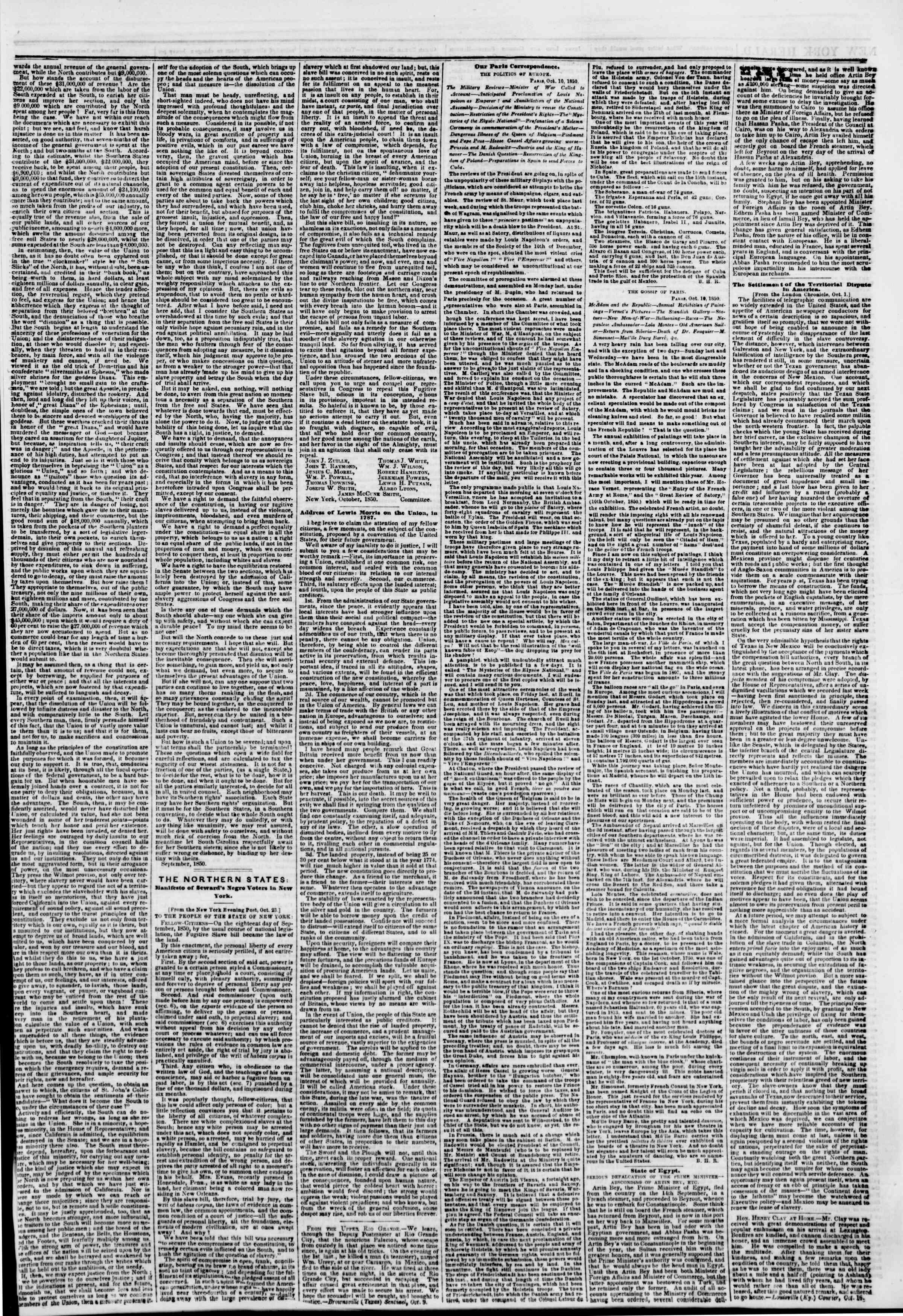Newspaper of The New York Herald dated October 26, 1850 Page 3