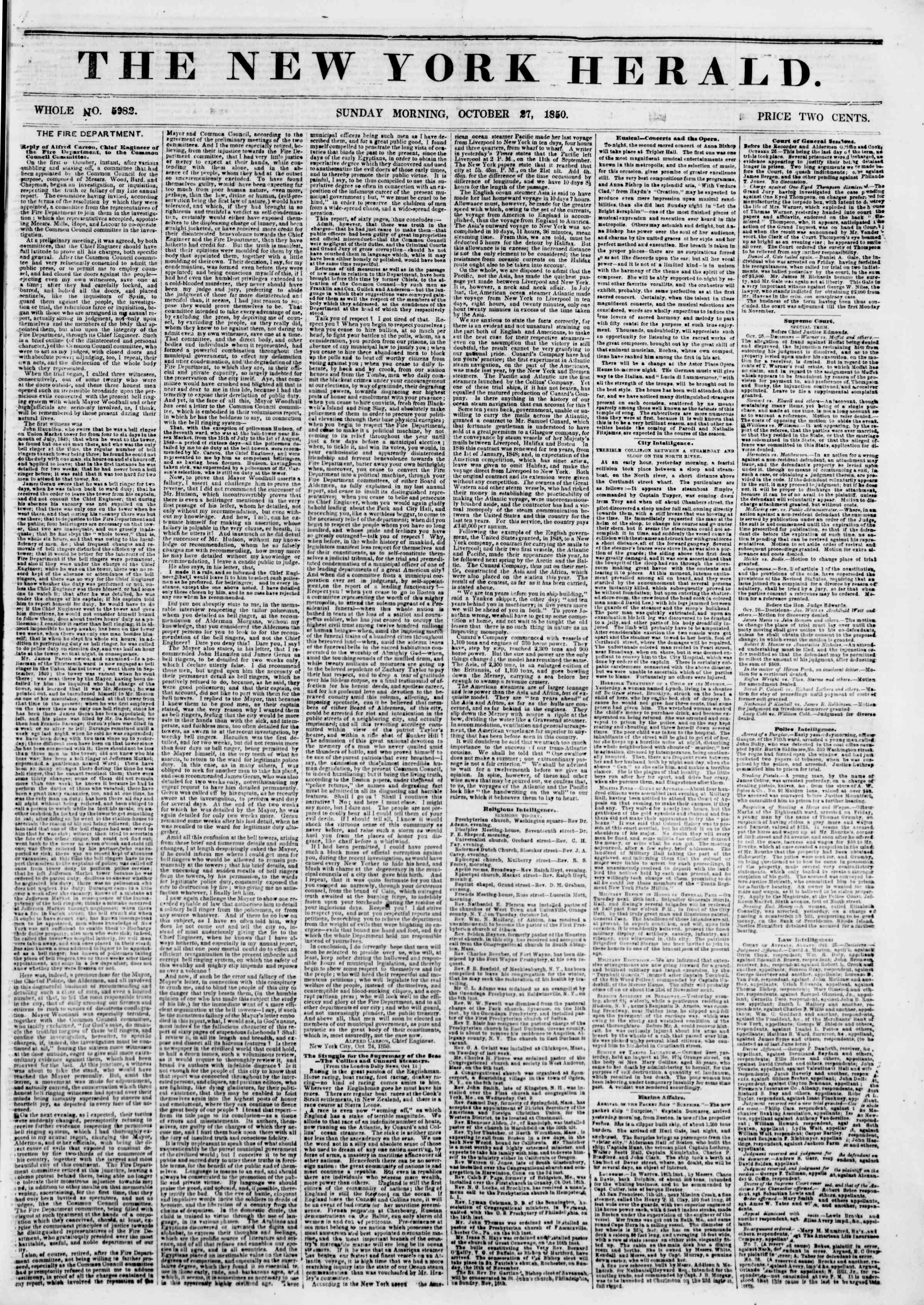 Newspaper of The New York Herald dated October 27, 1850 Page 1