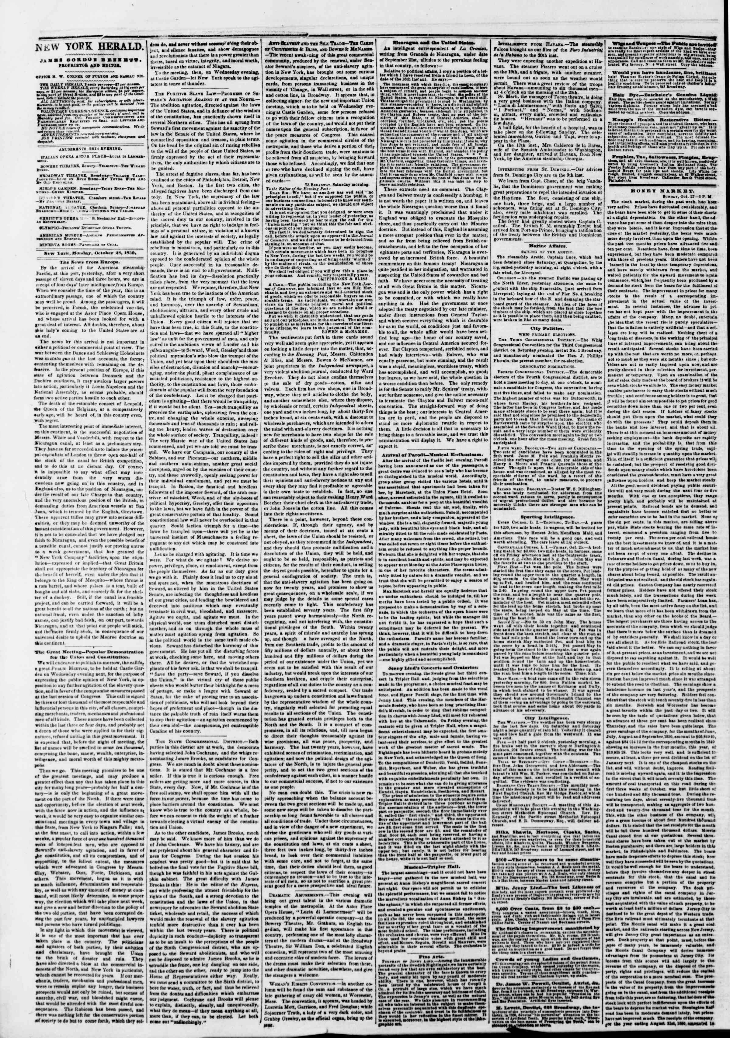 Newspaper of The New York Herald dated October 28, 1850 Page 2