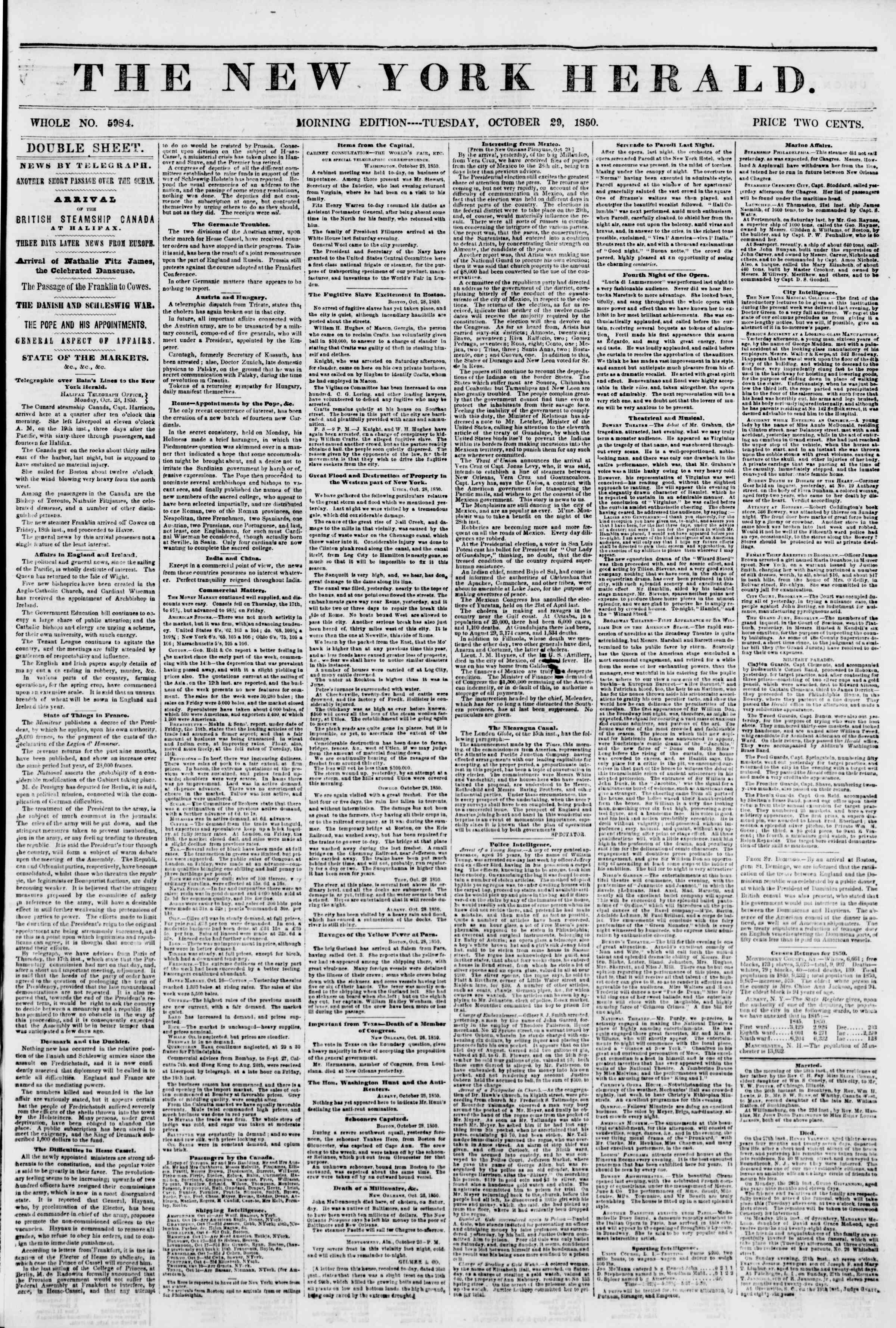 Newspaper of The New York Herald dated October 29, 1850 Page 1