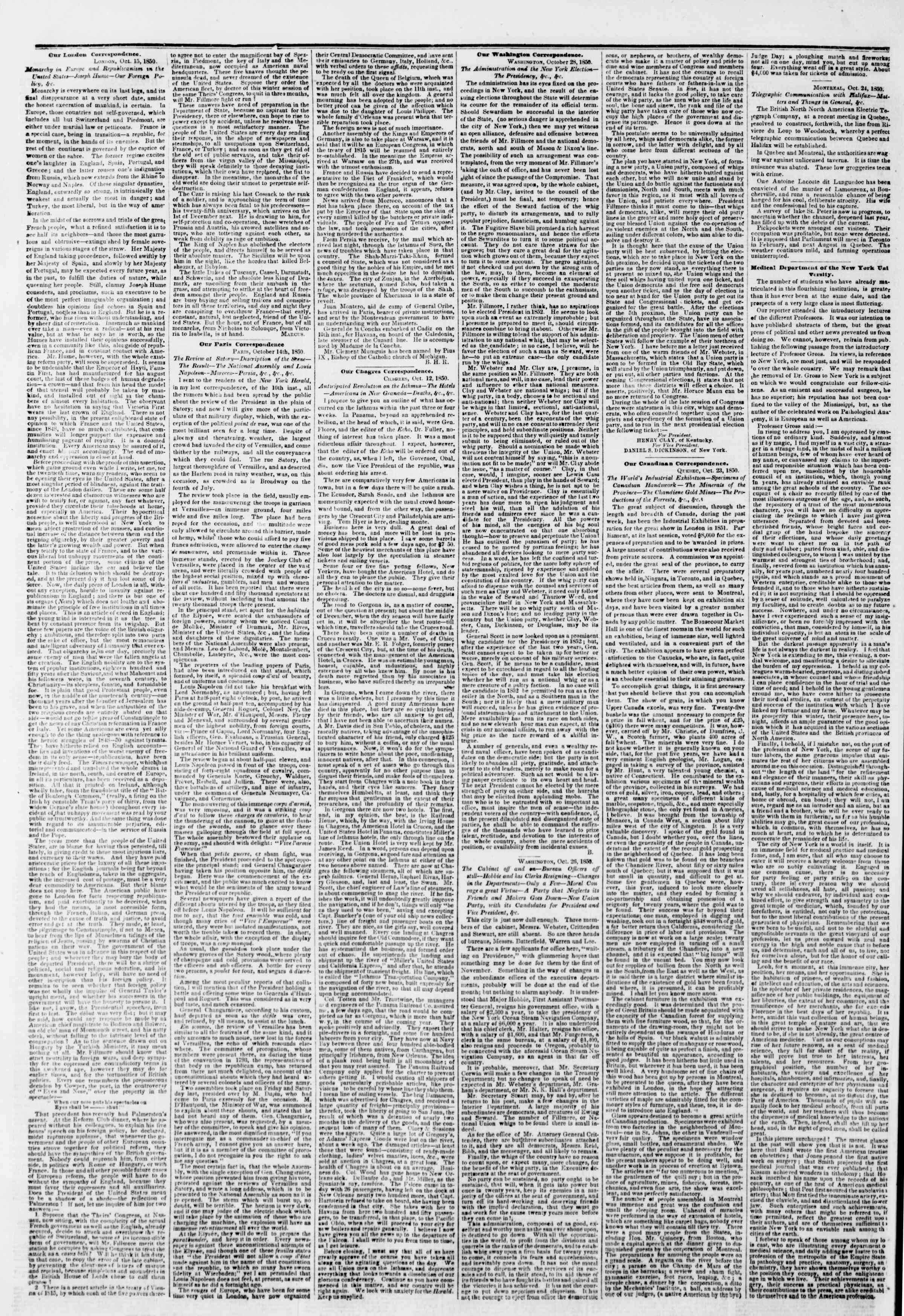 Newspaper of The New York Herald dated October 29, 1850 Page 6