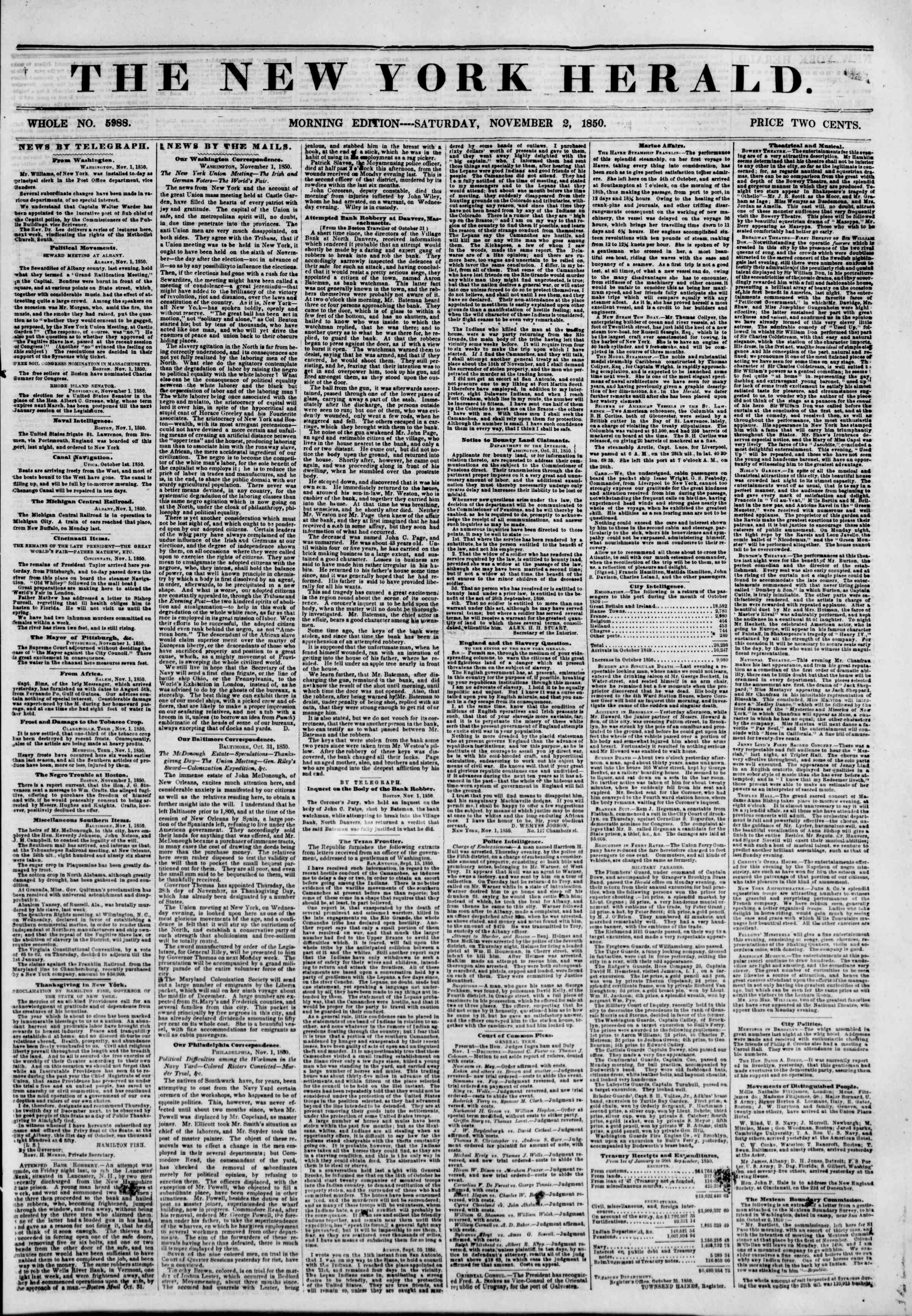 Newspaper of The New York Herald dated November 2, 1850 Page 1