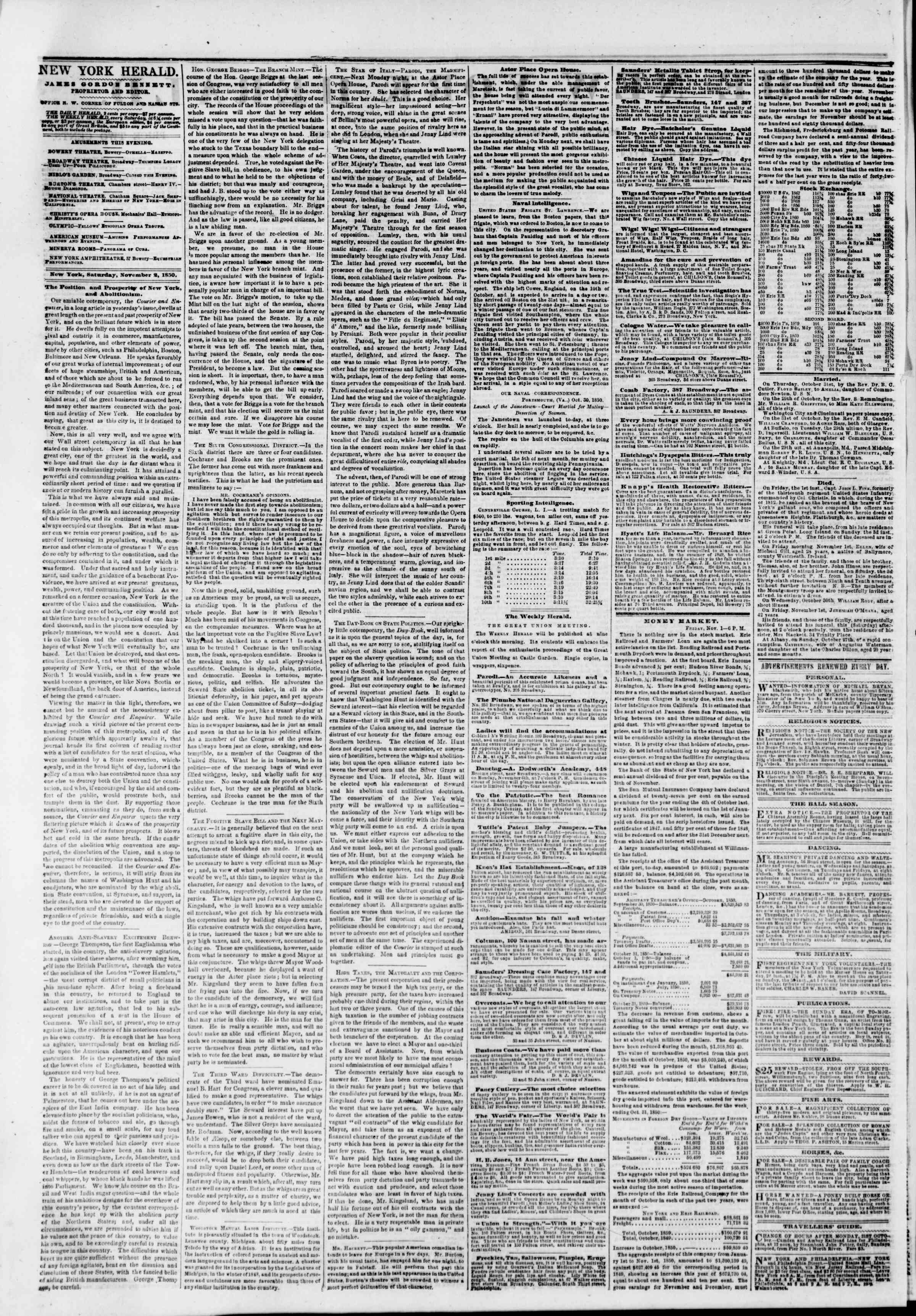 Newspaper of The New York Herald dated November 2, 1850 Page 2