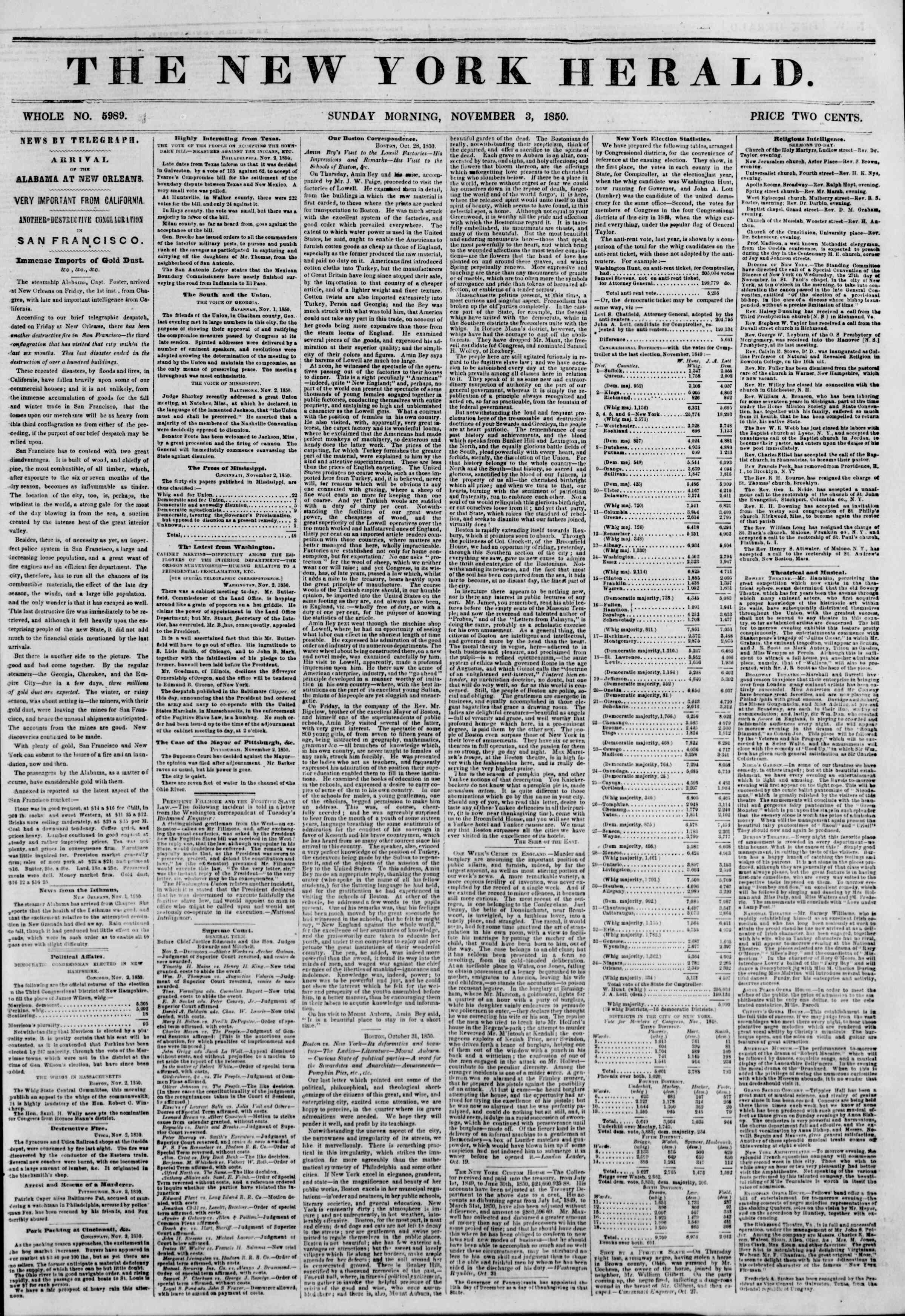 Newspaper of The New York Herald dated November 3, 1850 Page 1